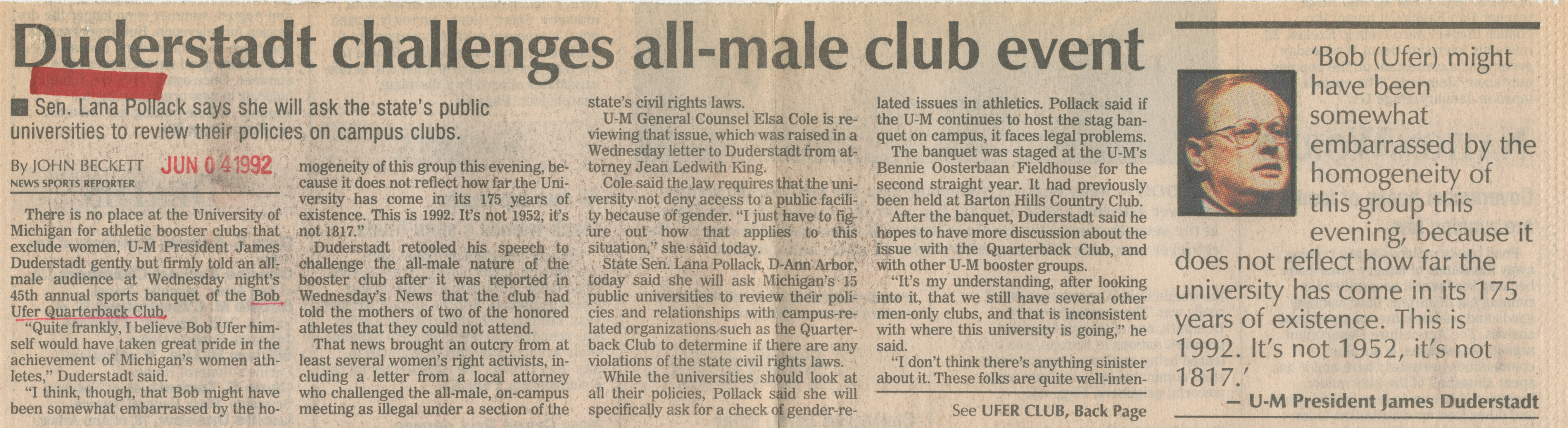 Duderstadt Challenges All-Male Club Event image