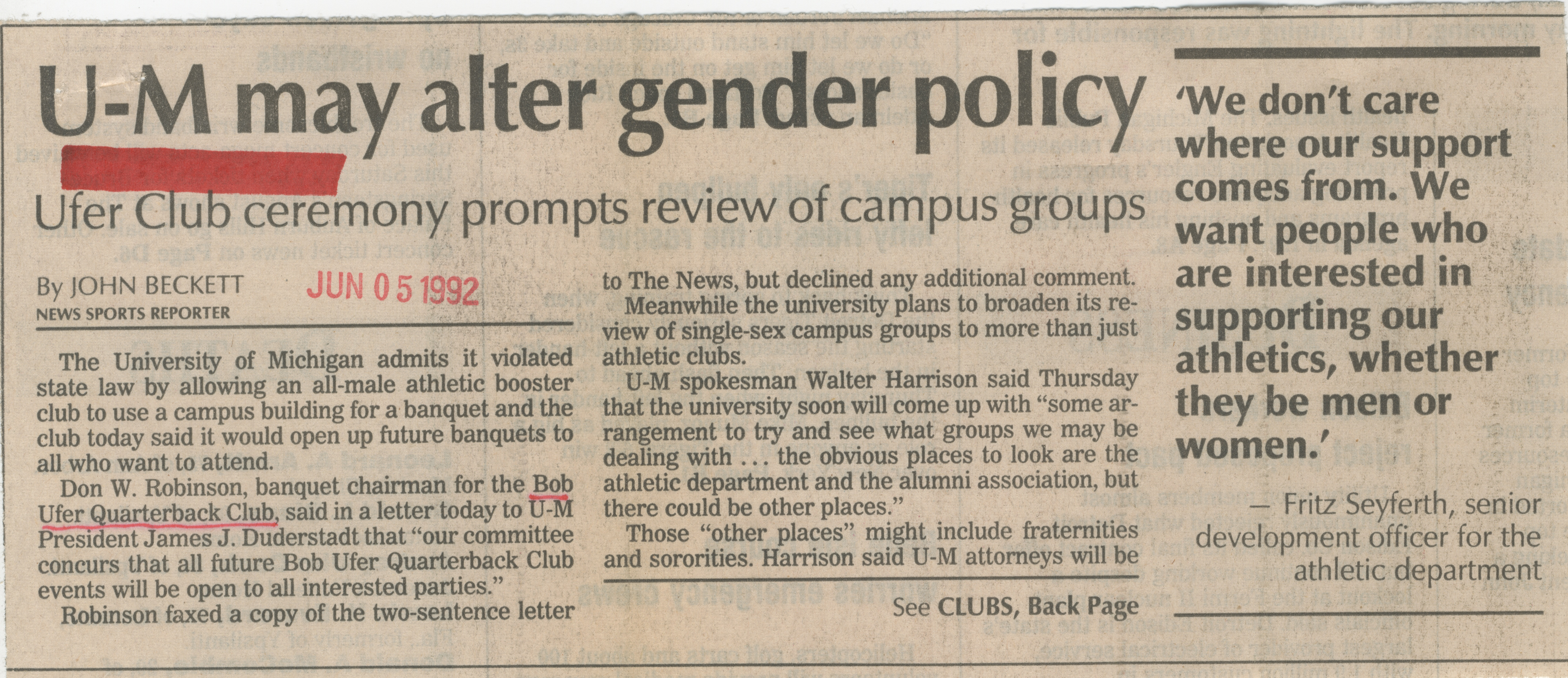 U-M May Alter Gender Policy image