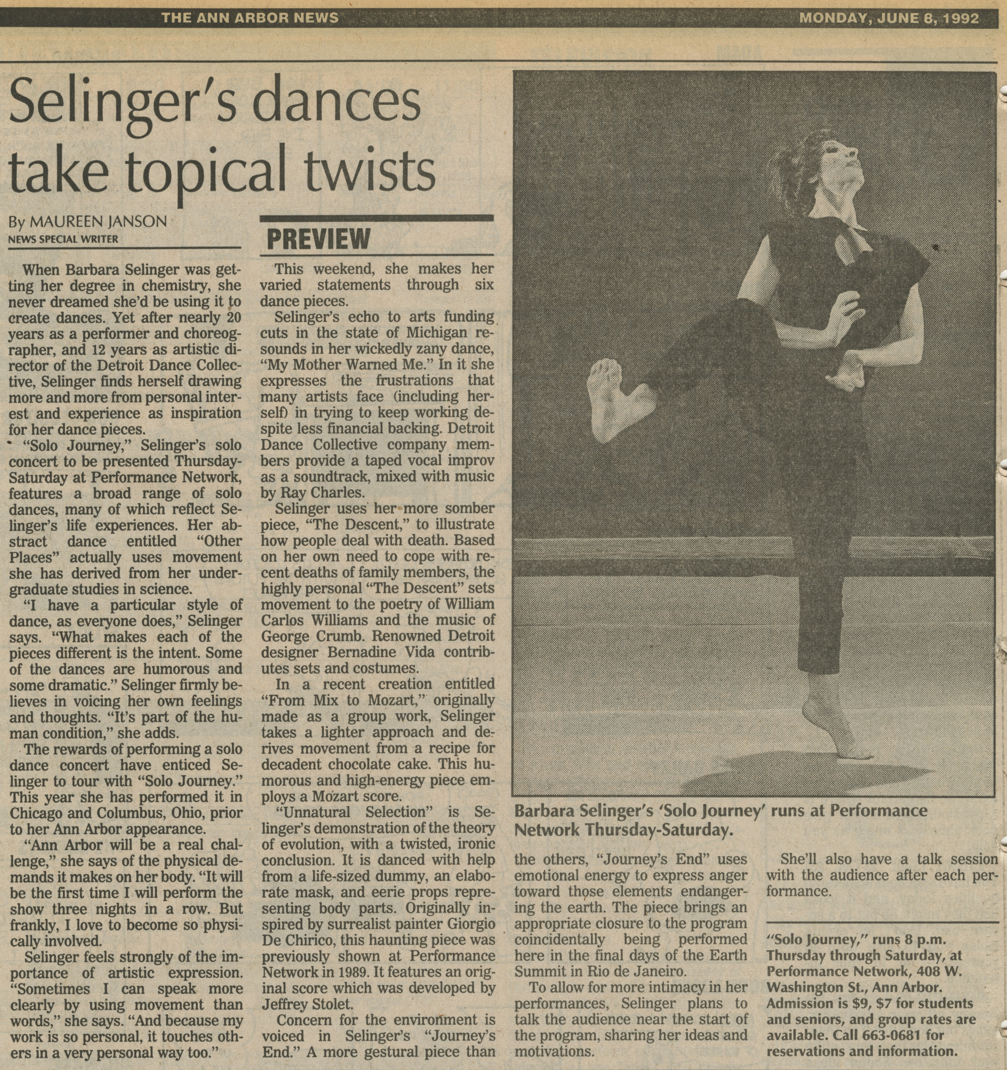 Selinger's dances take topical twists image