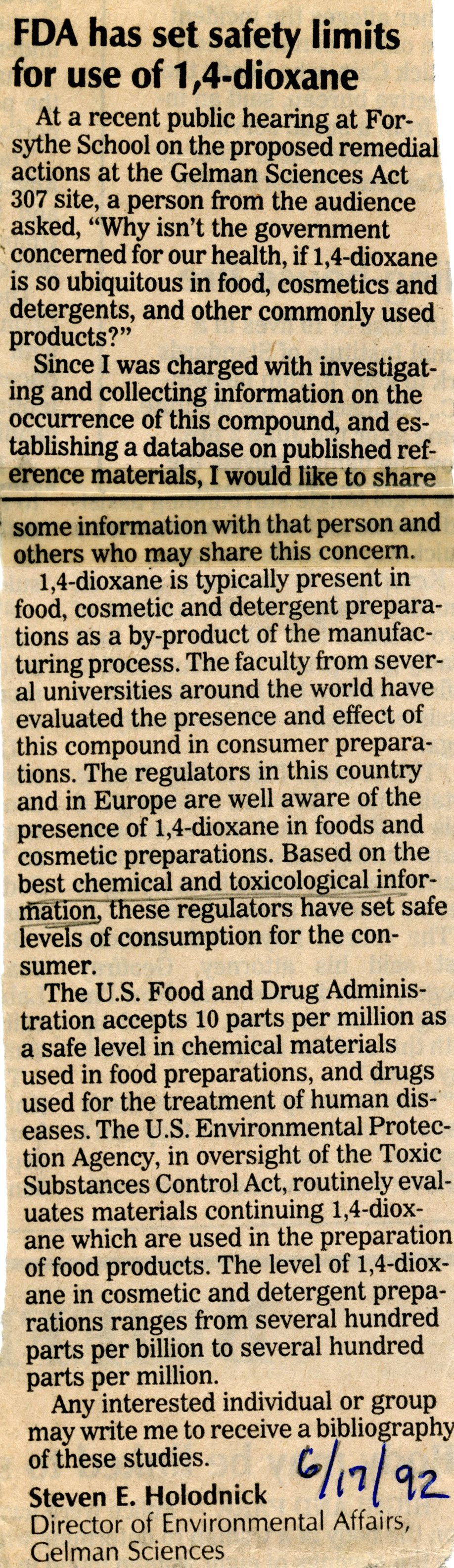 FDA Has Set Safety Limits For Use of 1,4-dioxane image
