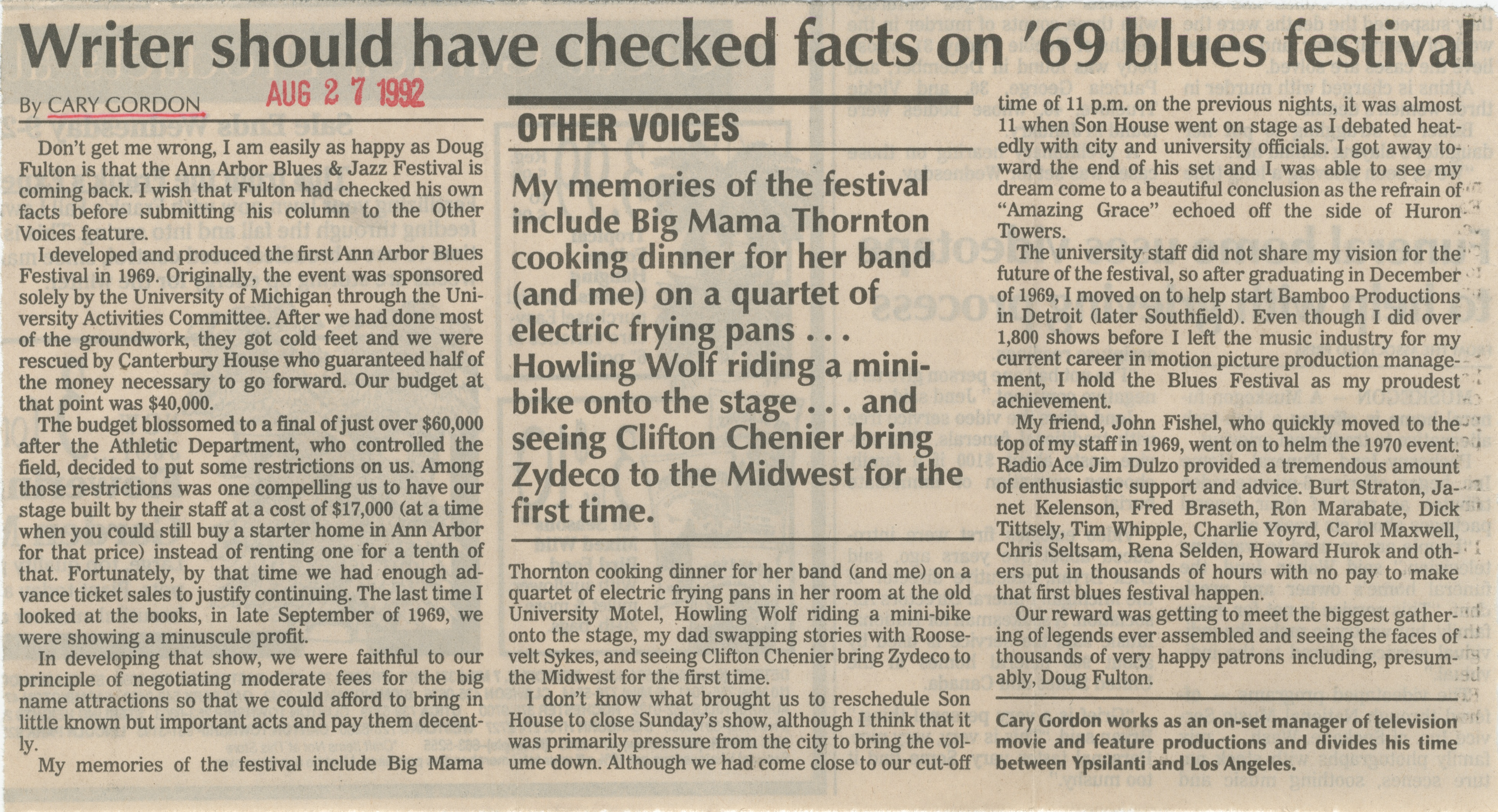 Writer should have checked facts on '69 blues festival image