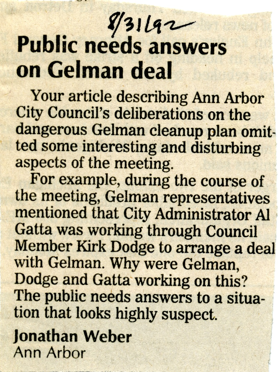 Public Needs Answers on Gelman Deal image
