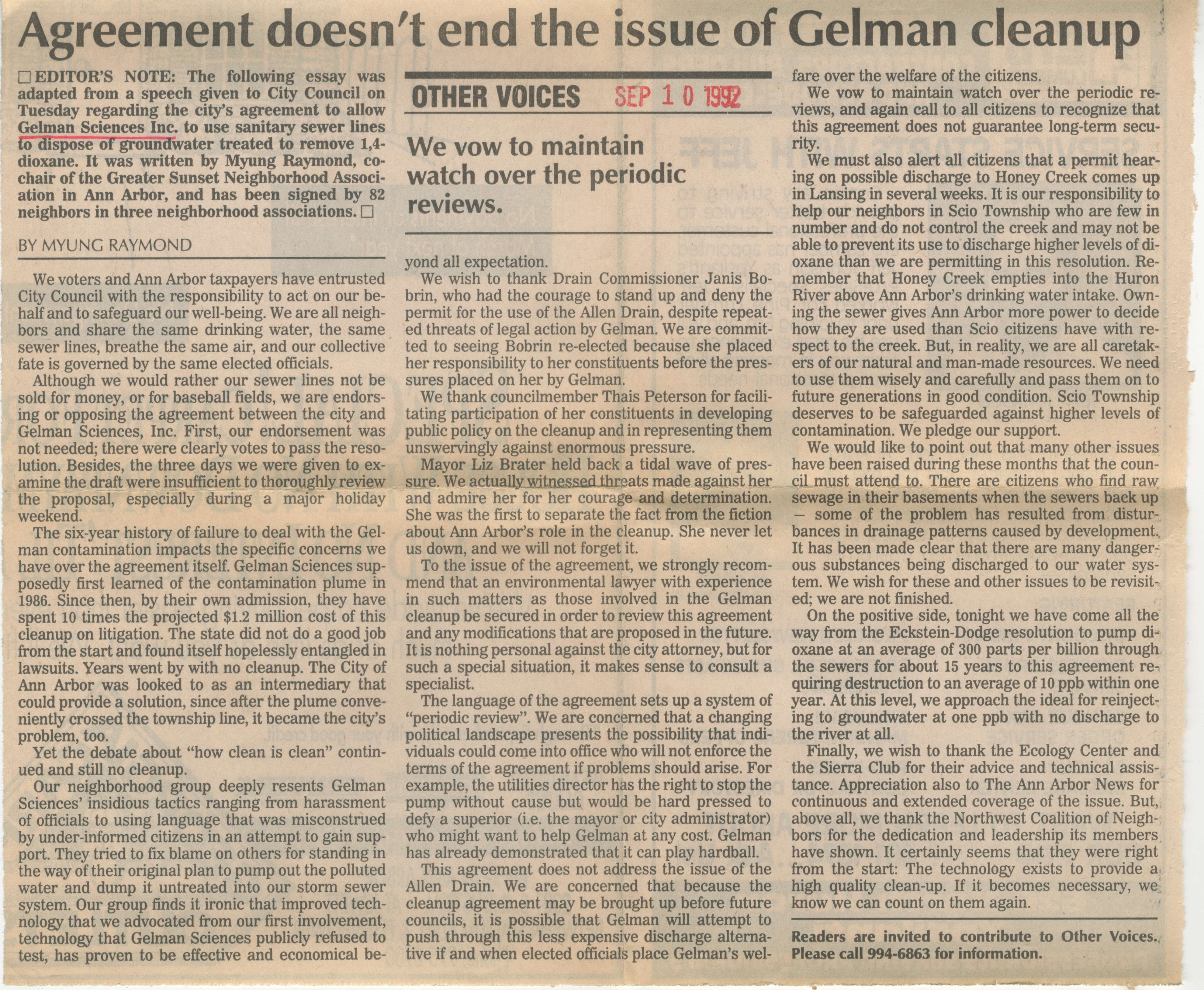 Agreement doesn't end the issue of Gelman cleanup image