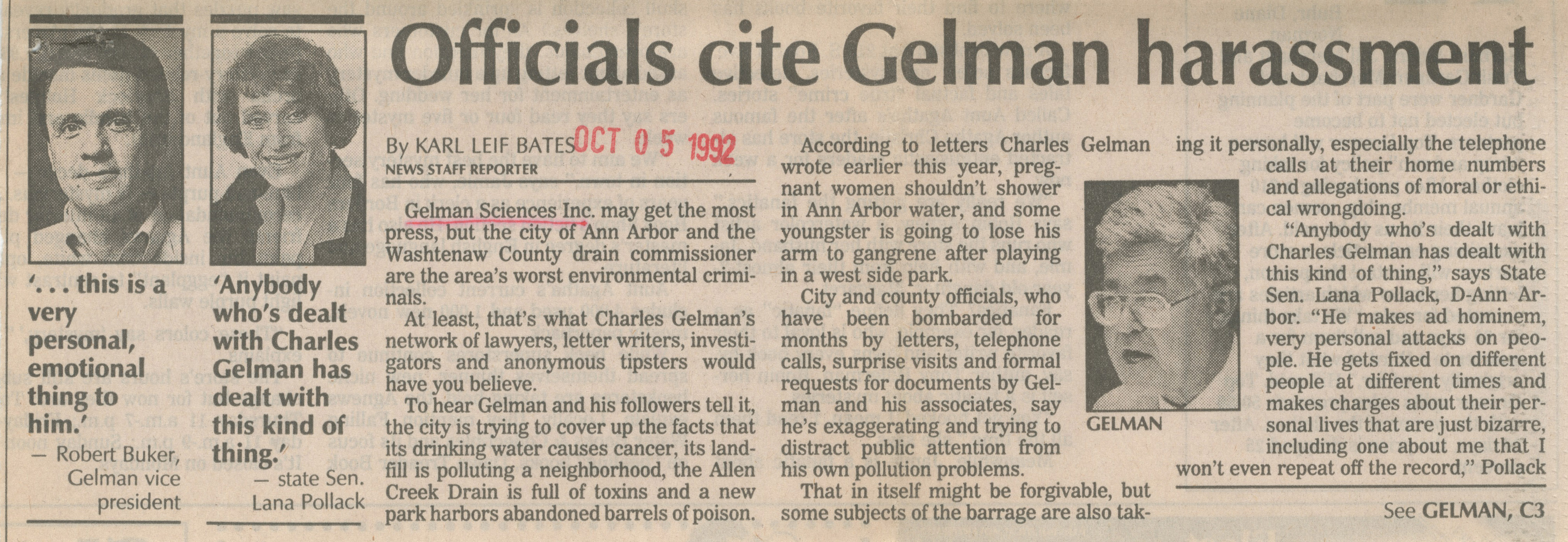 Officials Cite Gelman Harassment image