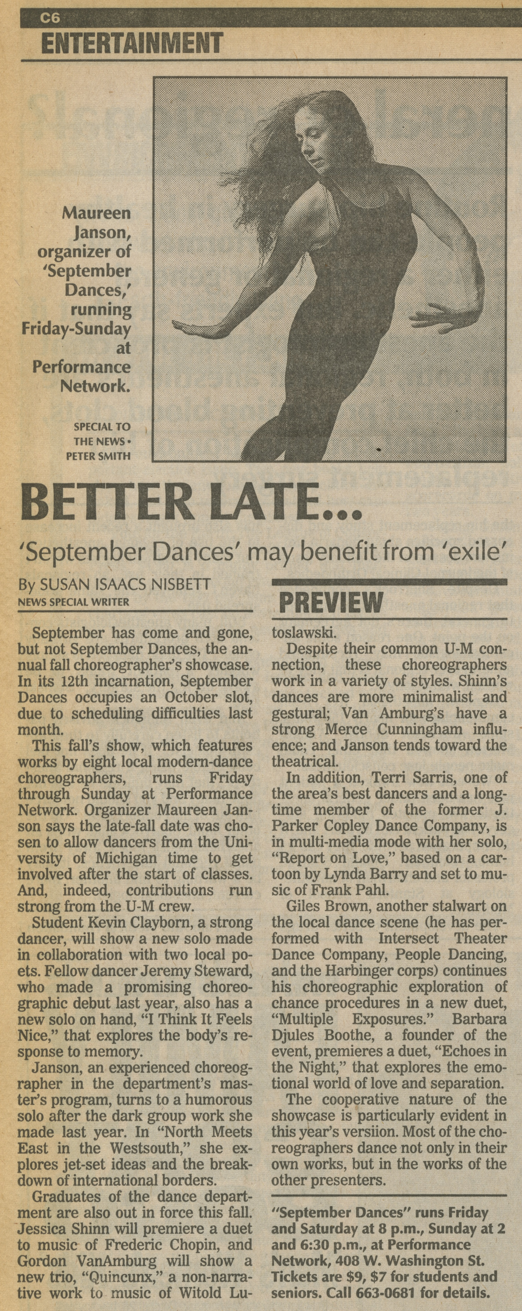 Better Late... 'September Dances' may benefit from 'exile' image