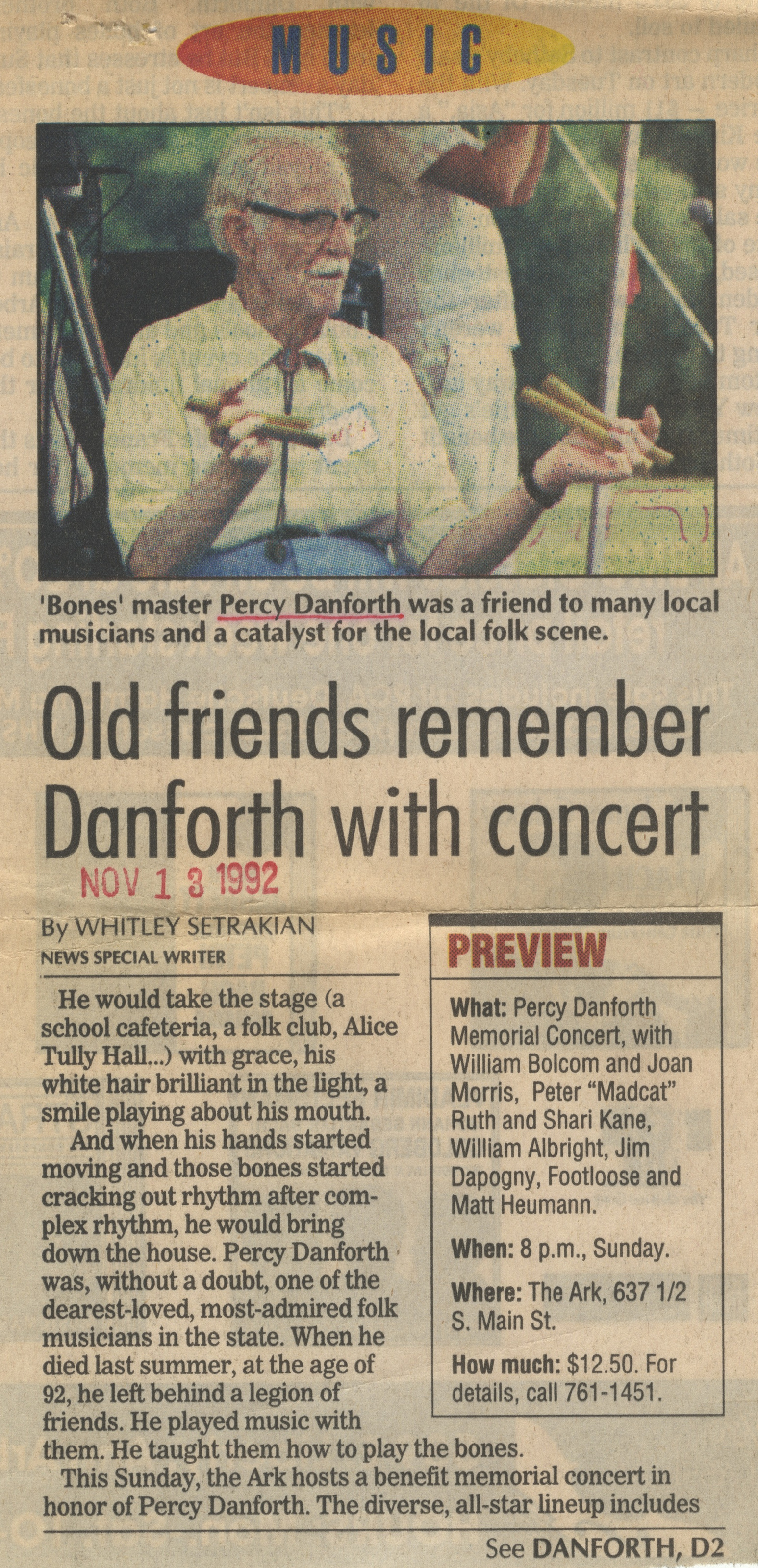 Old Friends Remember Danforth With Concert image