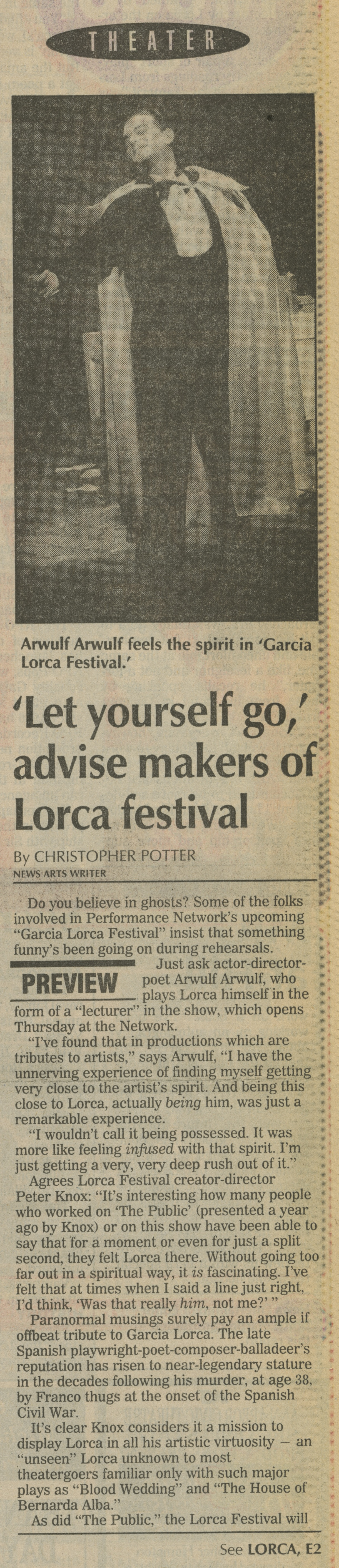 'Let yourself go,' advise makers of Lorca festival image