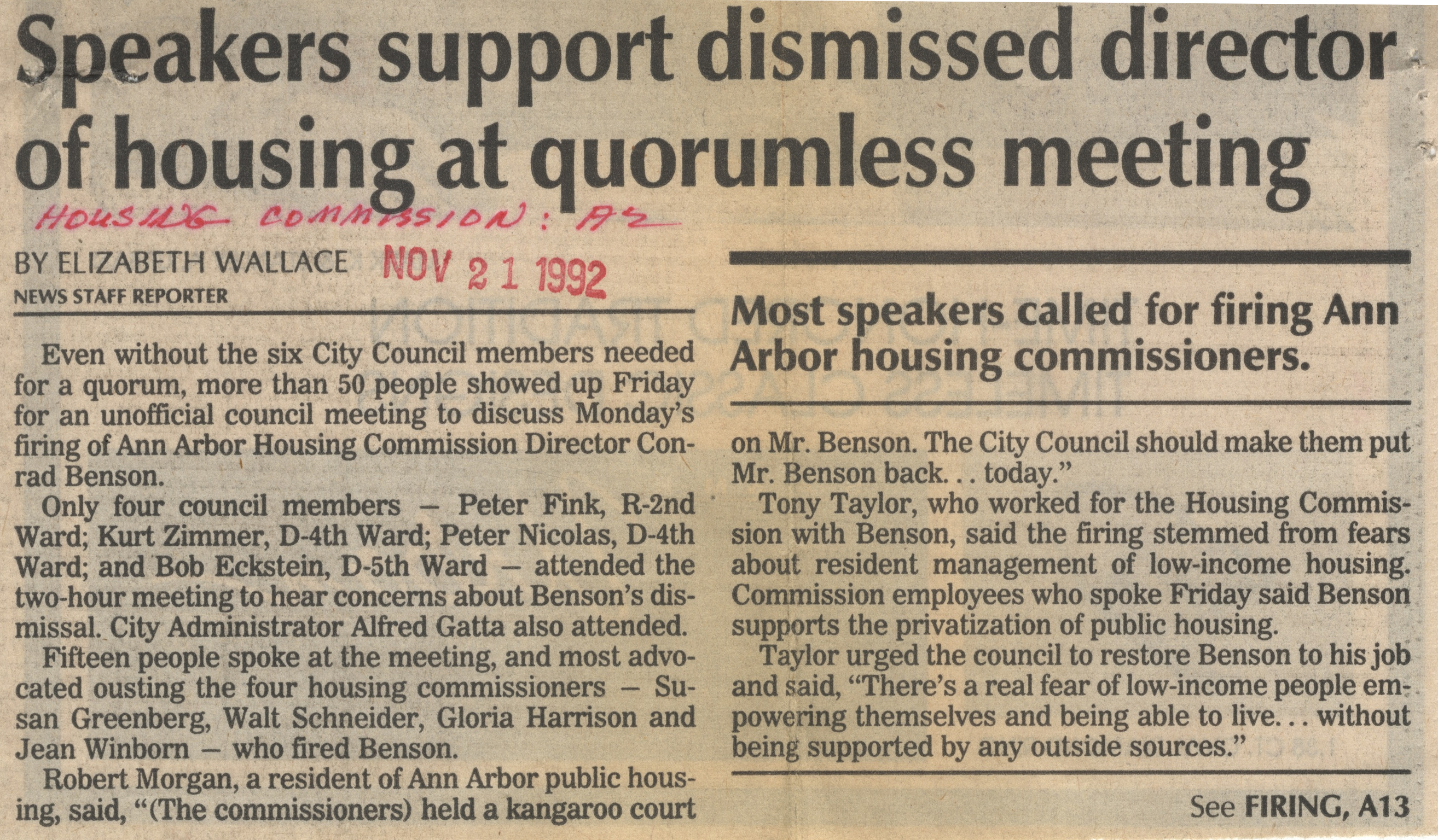 Speakers Support Dismissed Director of Housing at Quorumless Meeting image