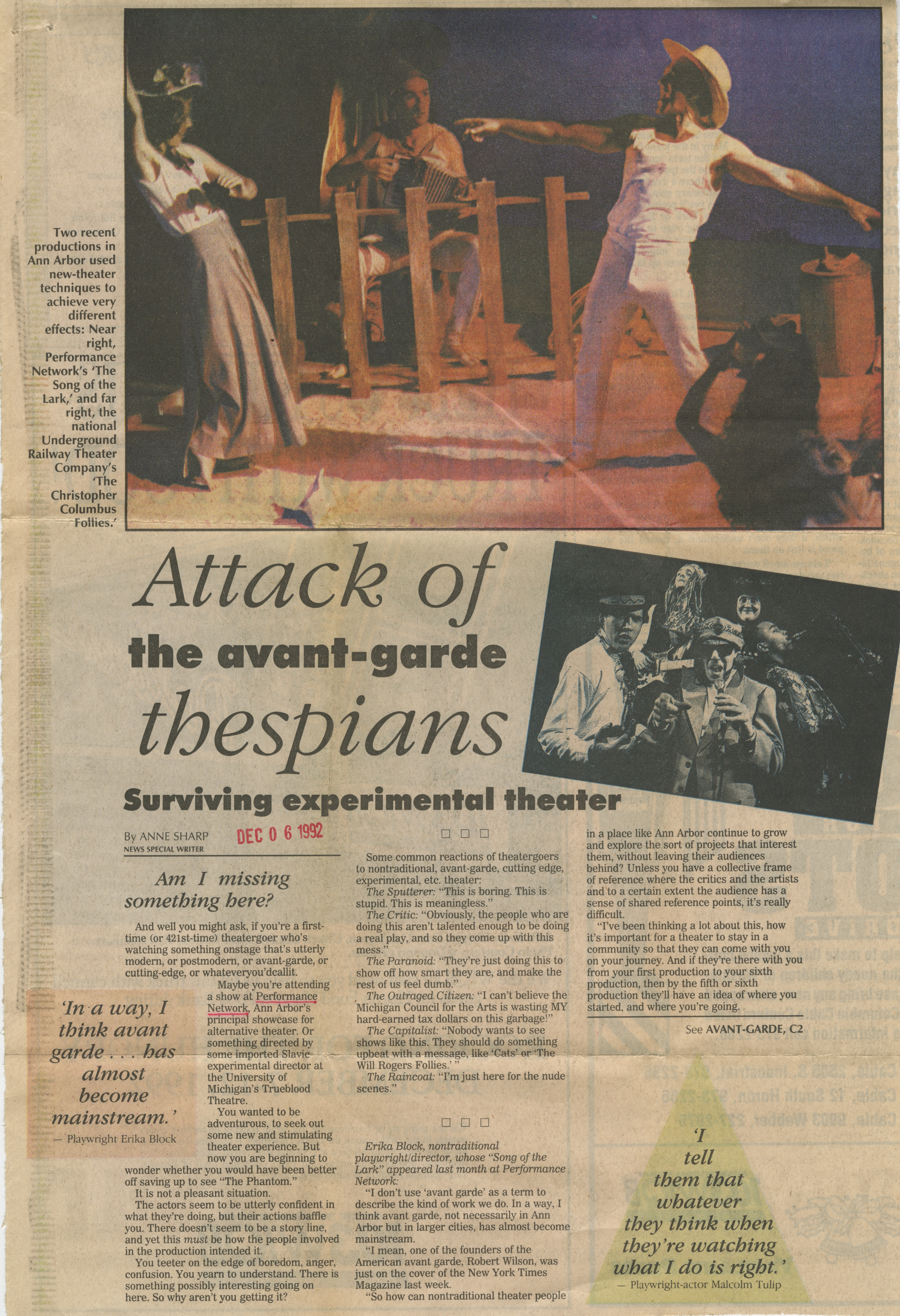 Attack of the avent-garde thespians: Surviving experimental theater image
