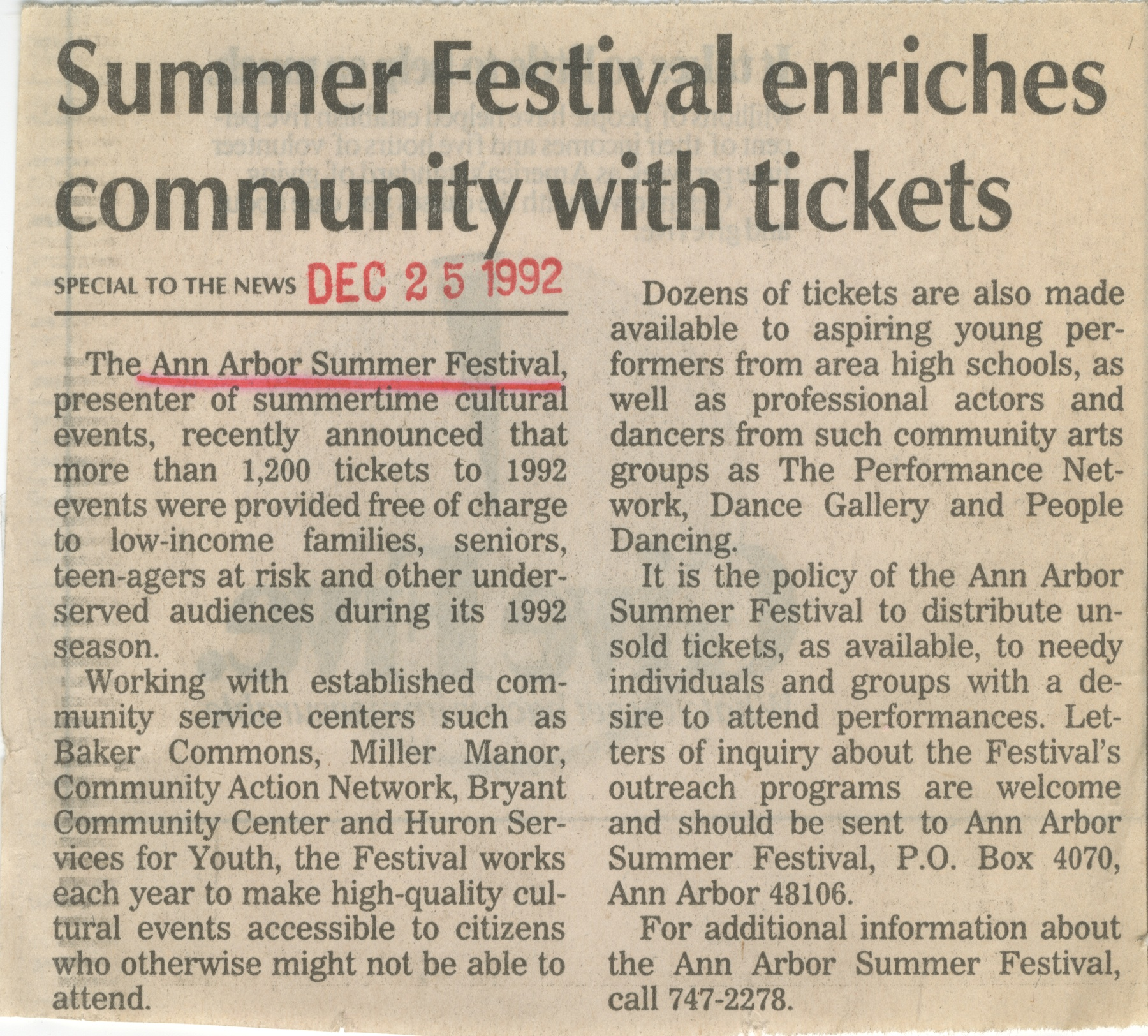 Summer Festival enriches community with tickets image