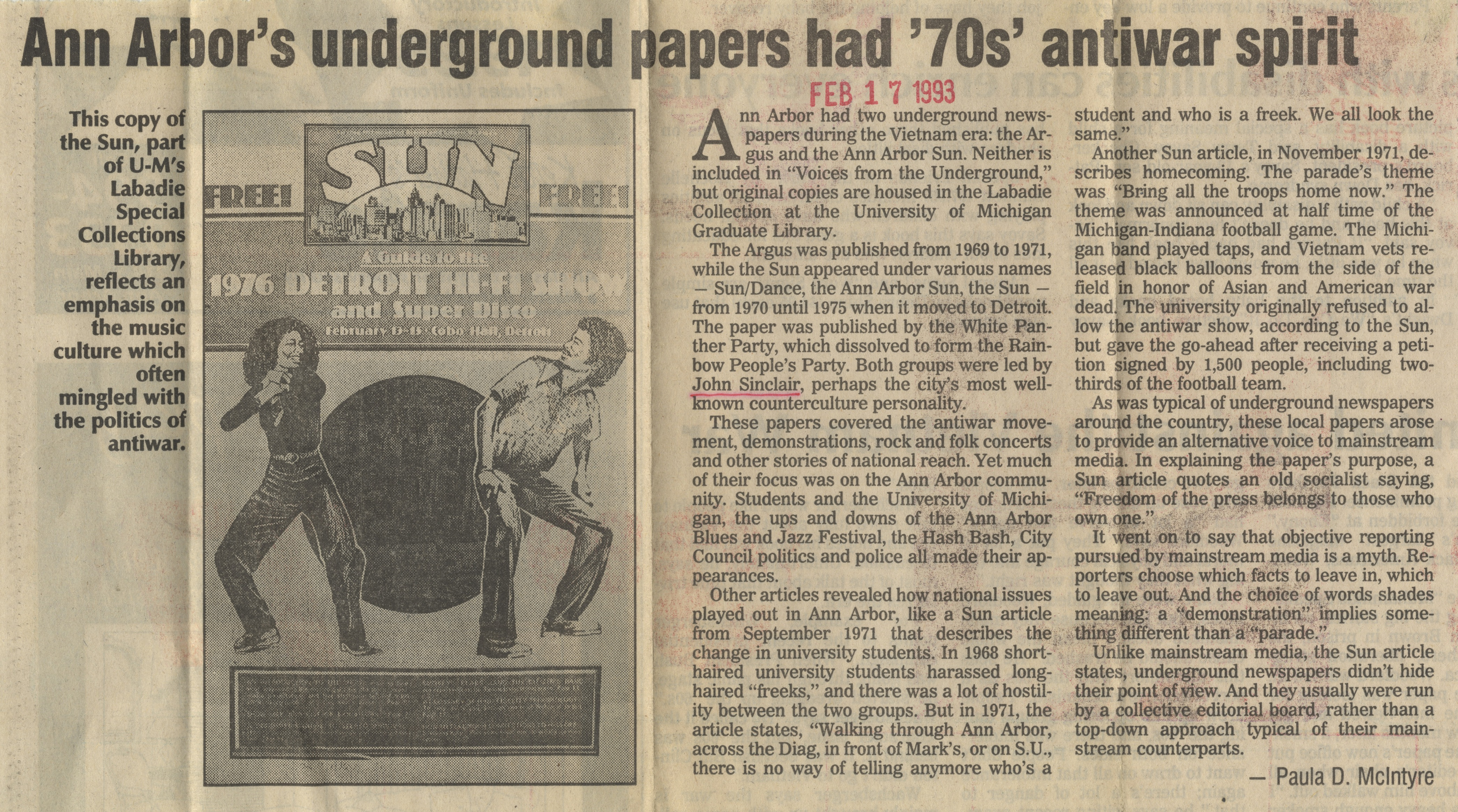 Ann Arbor's Underground Papers Had '70s' Antiwar Spirit image