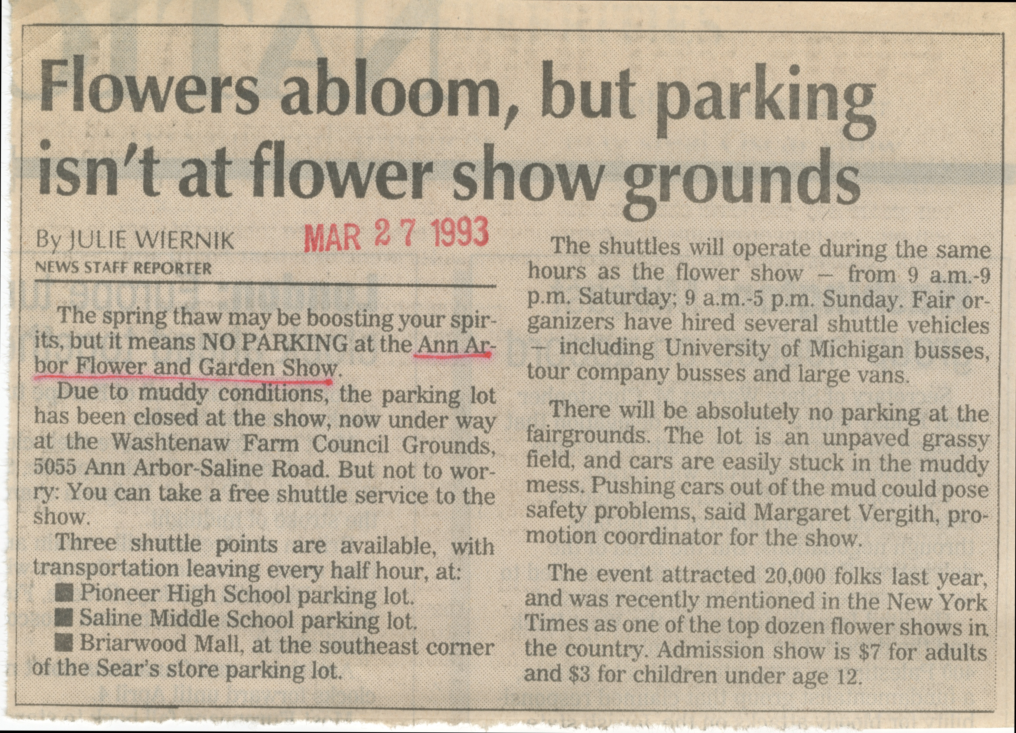 Flowers Abloom, But Parking Isn't at Flower Show Grounds image
