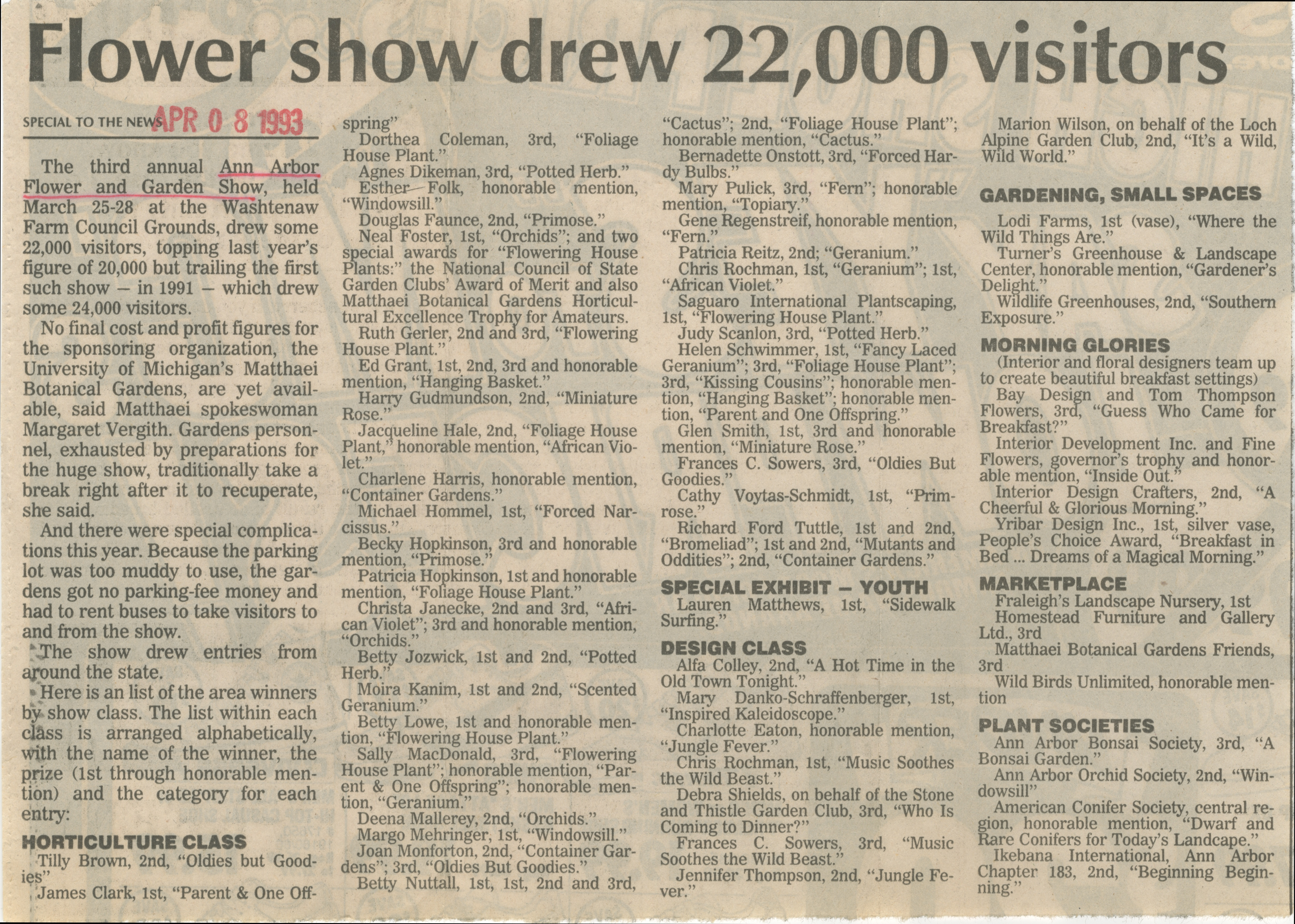 Flower Show Drew 22,000 Visitors image