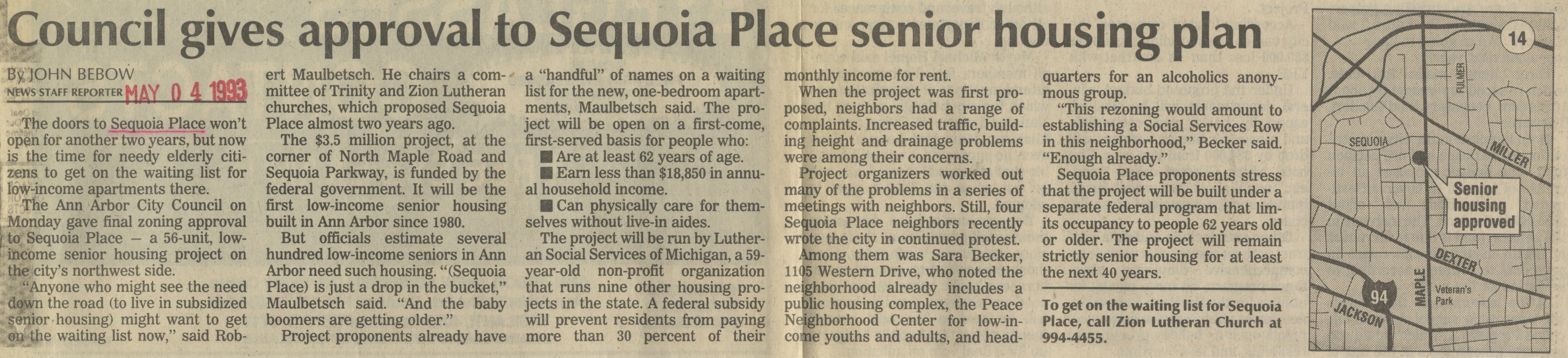 Council Gives Approval To Sequoia Place Senior Housing Plan image