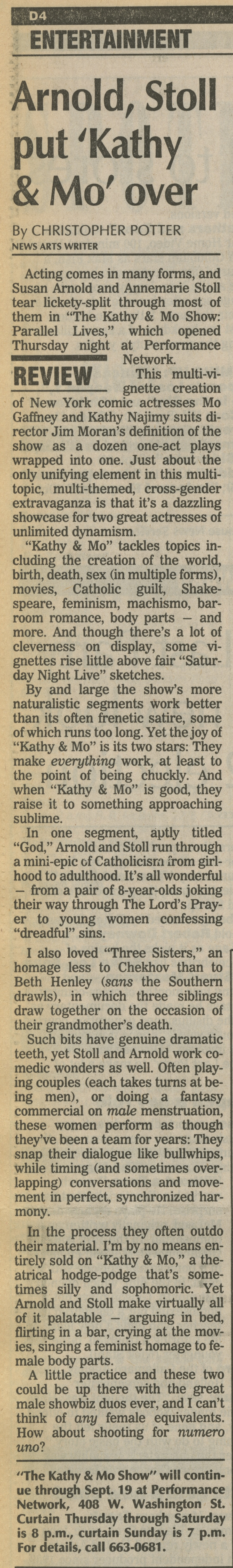 Arnold, Stoll put 'Kathy & Mo' over image