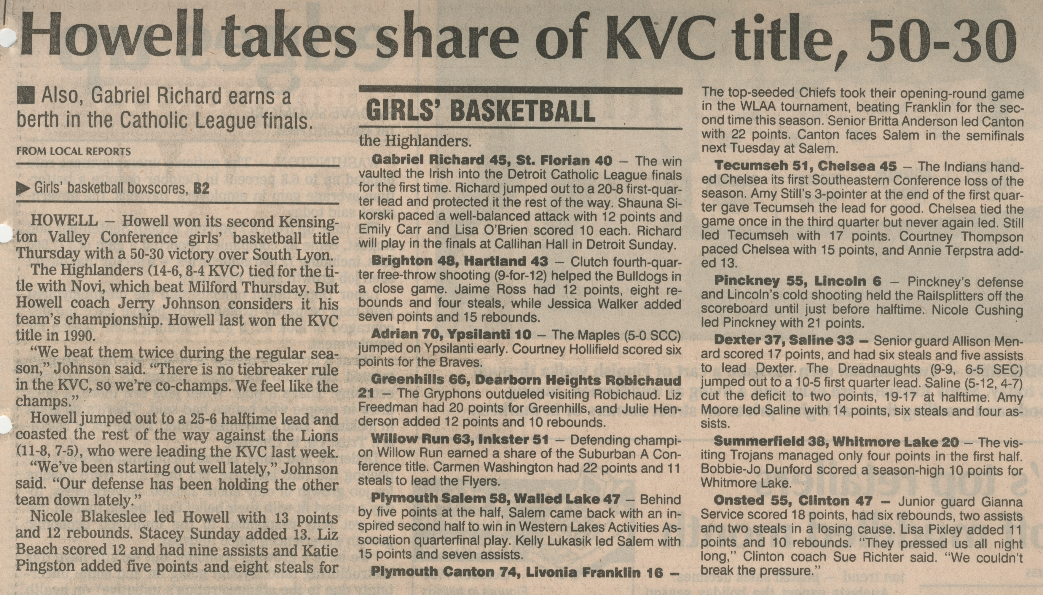 Howell Takes Share of KVC Title, 50 - 30 - Also, Gabriel Richard Earns A Berth In The Catholic League Finals image