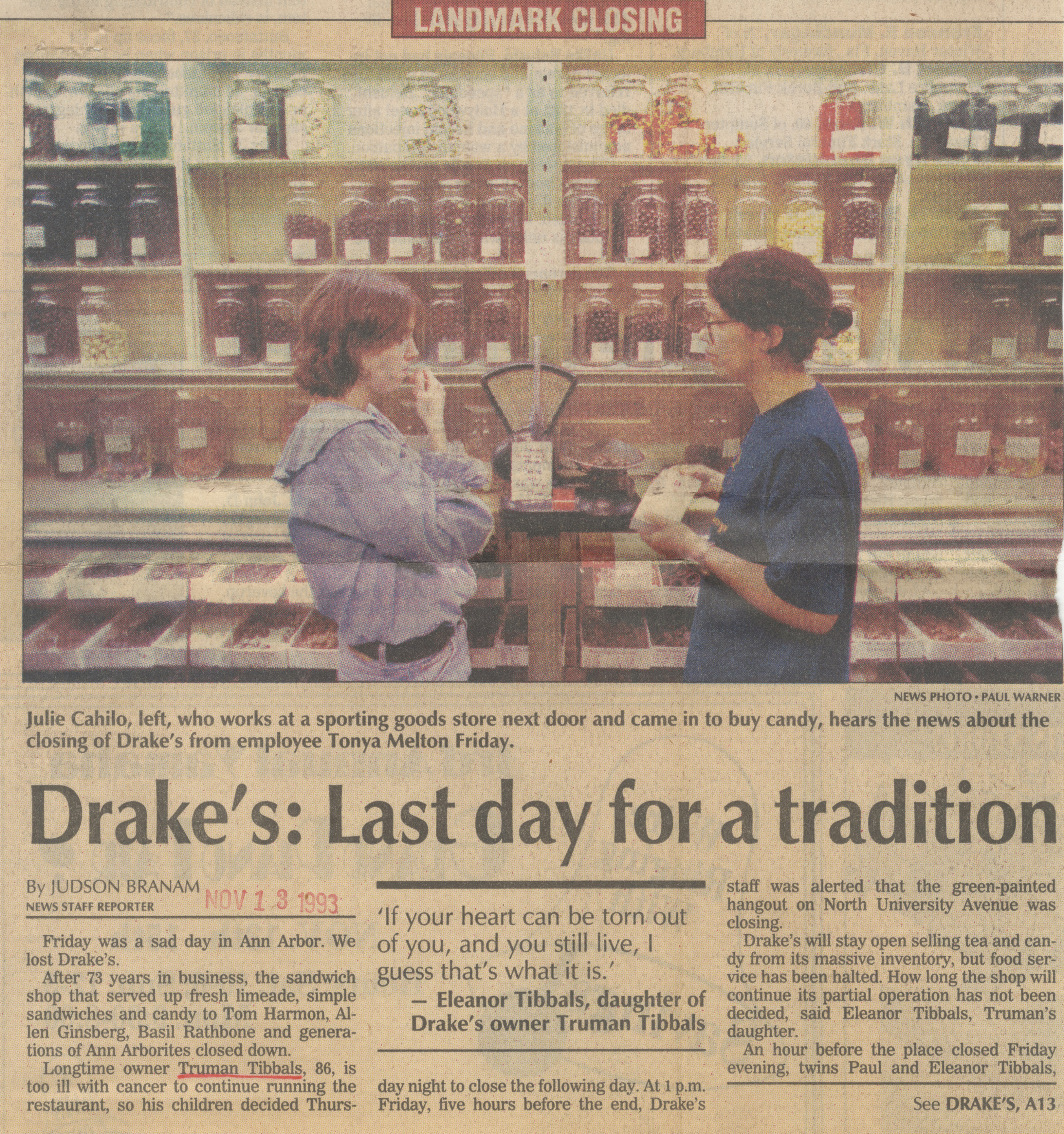 Drake's: Last Day For A Tradition image