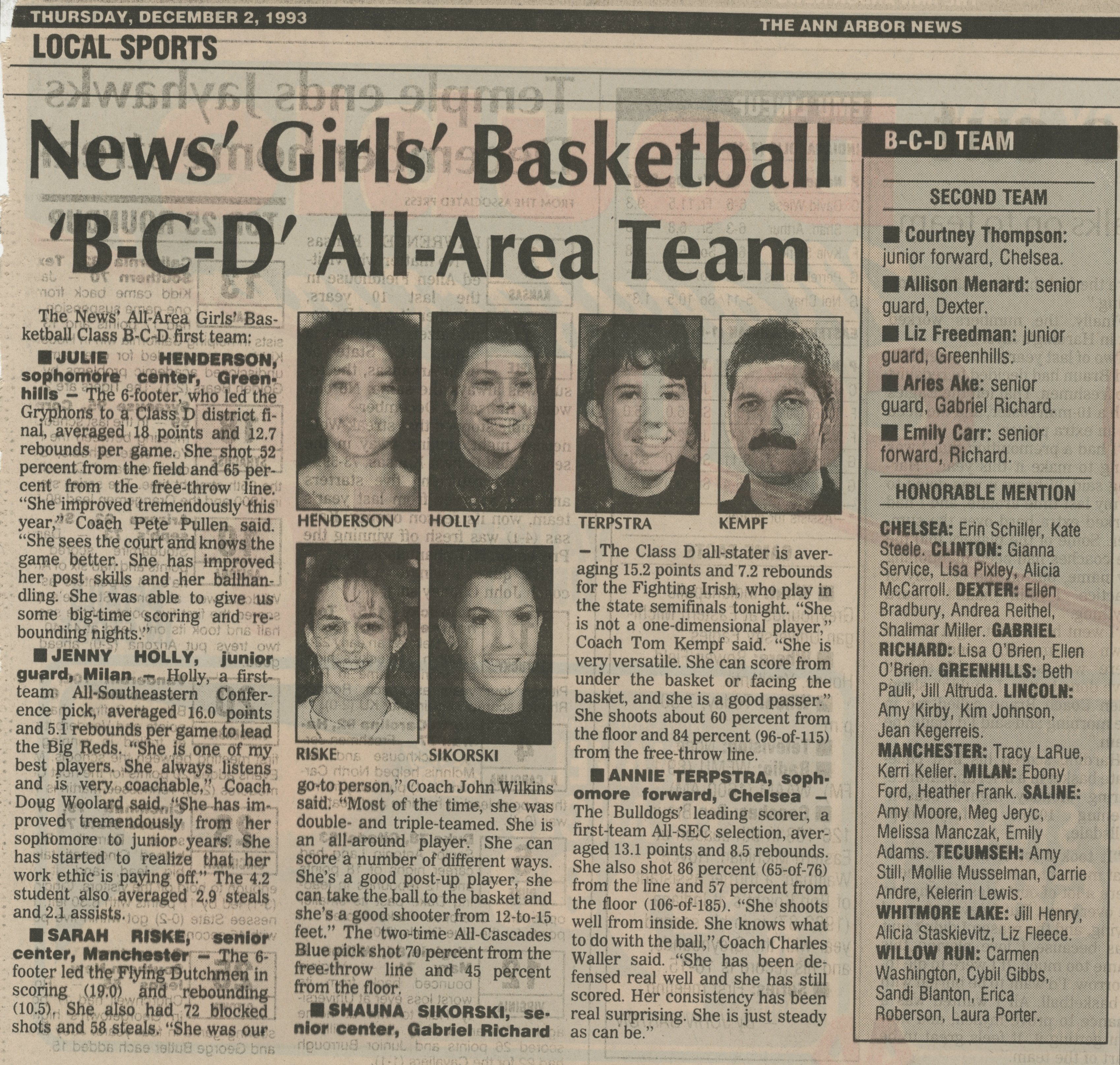 News' Girls' Basketball 'B-C-D' All-Area Team image