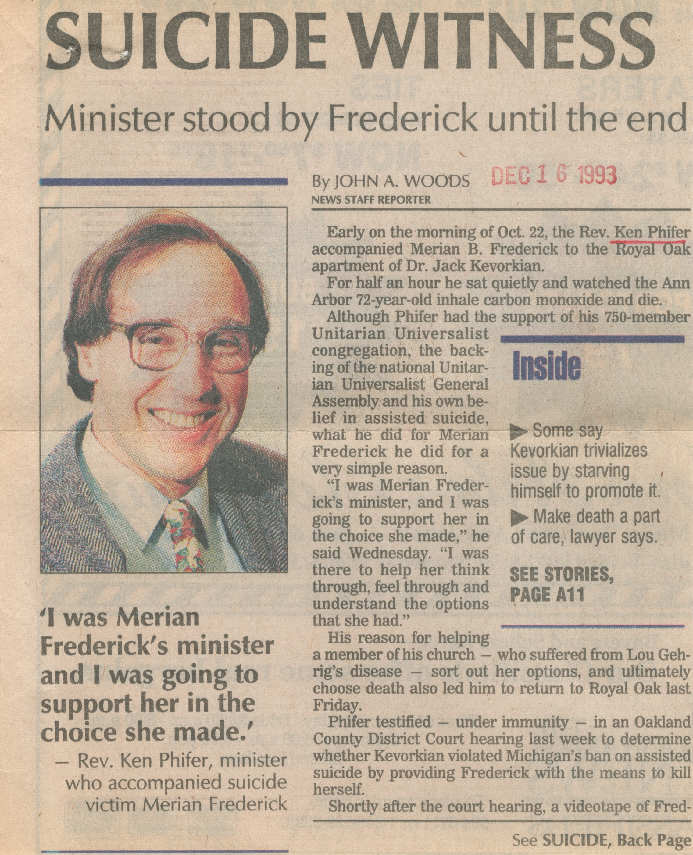 Suicide Witness - Minister Stood By Frederick Until The End image