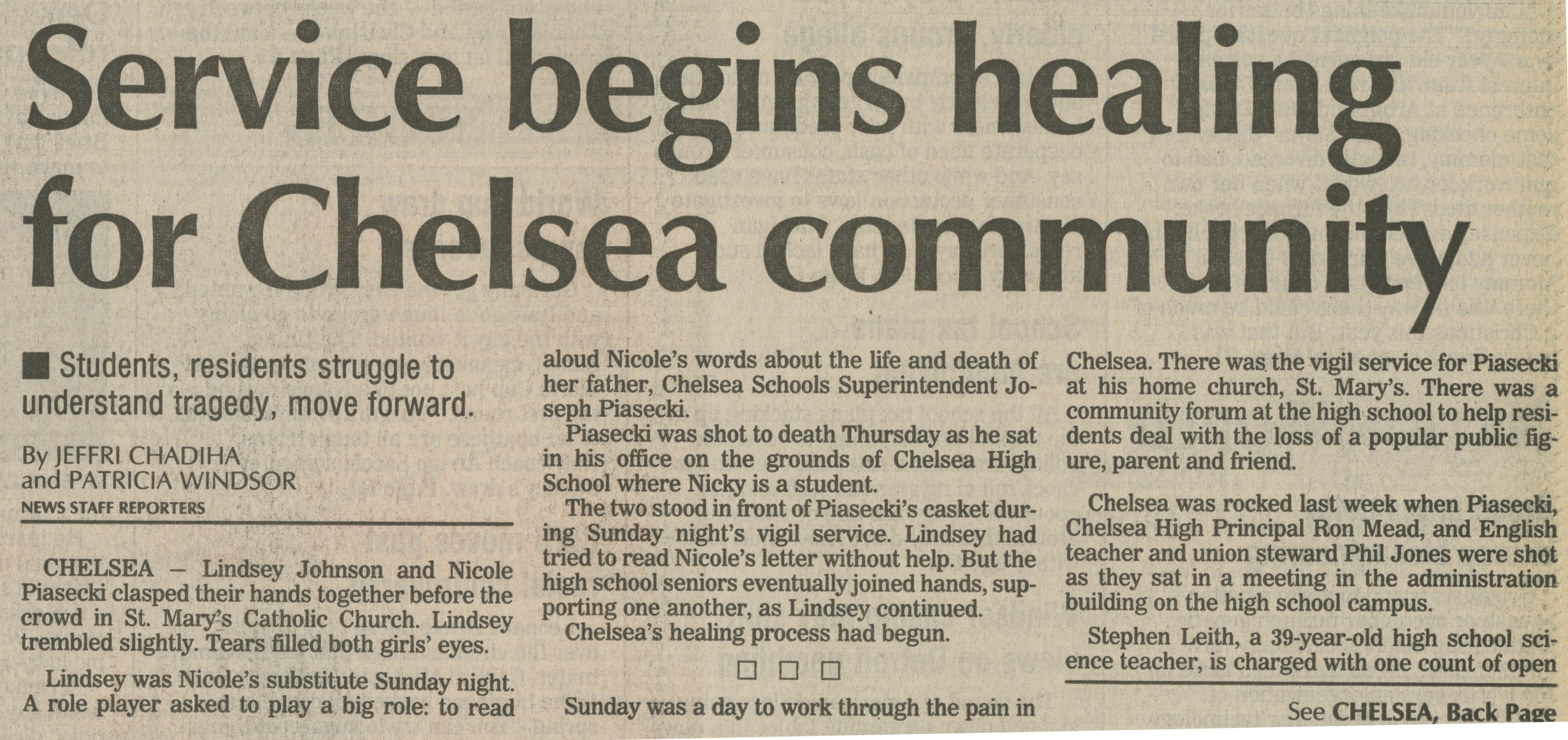 Service begins healing for Chelsea community image