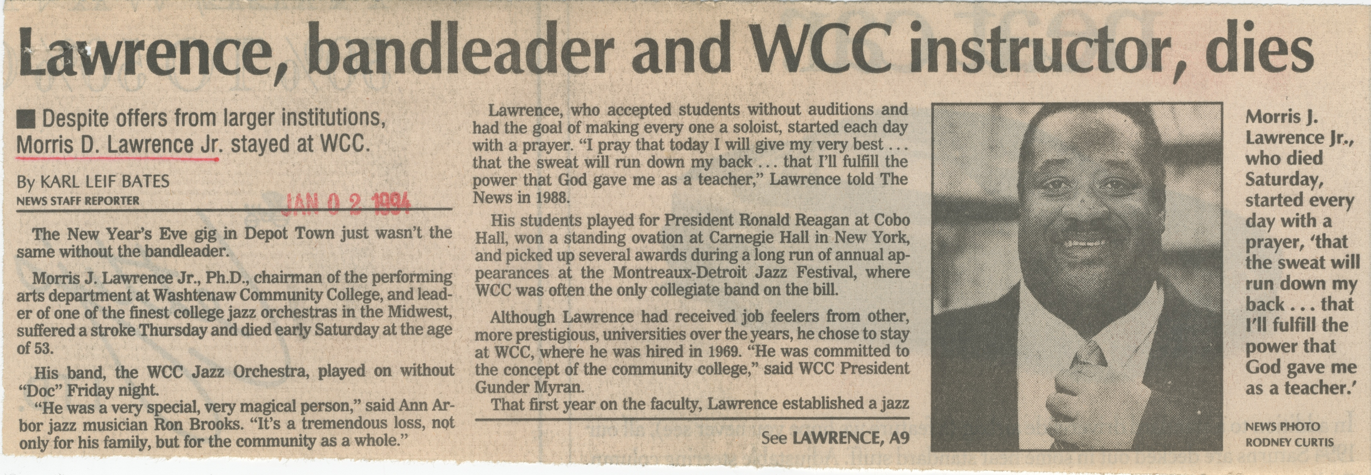 Lawrence, bandleader and WCC instructor, dies image