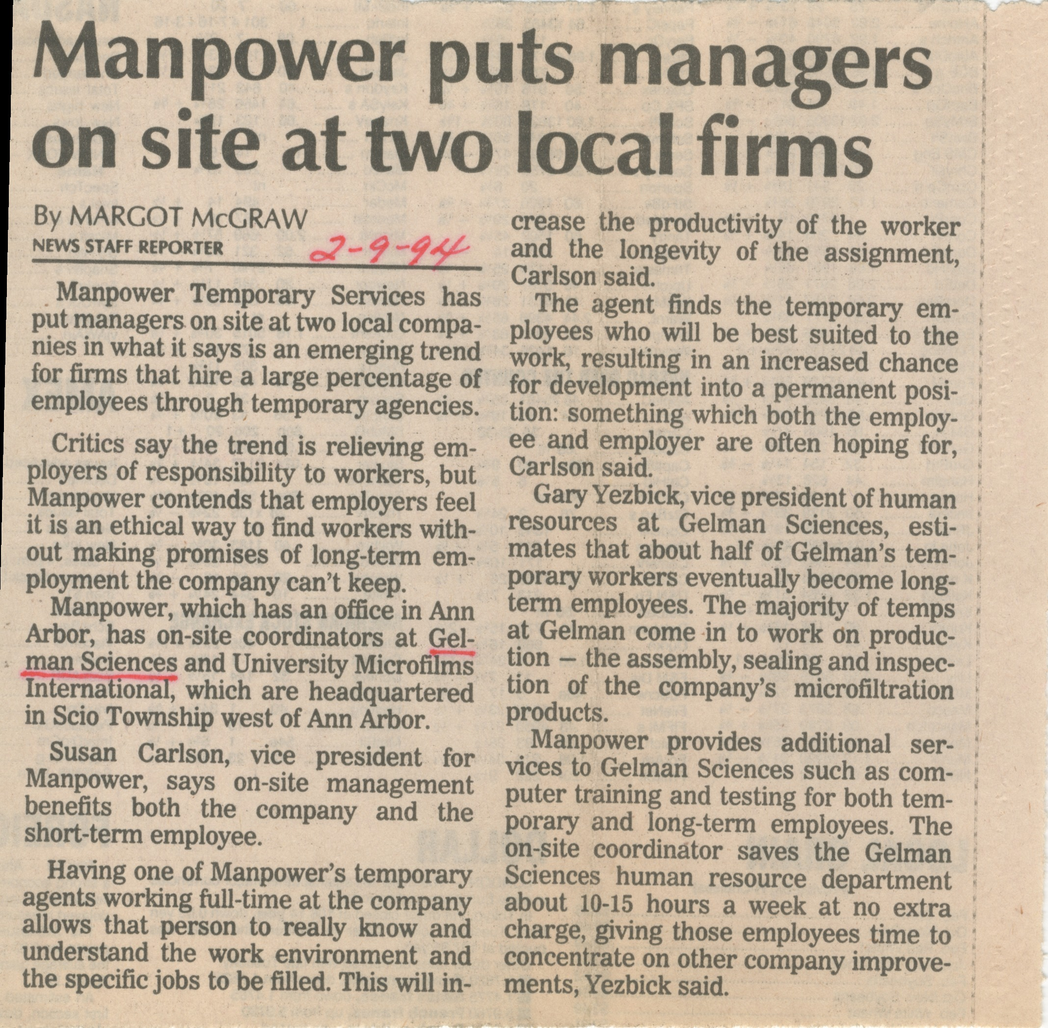 Manpower Puts Managers on Site at Two Local Firms image
