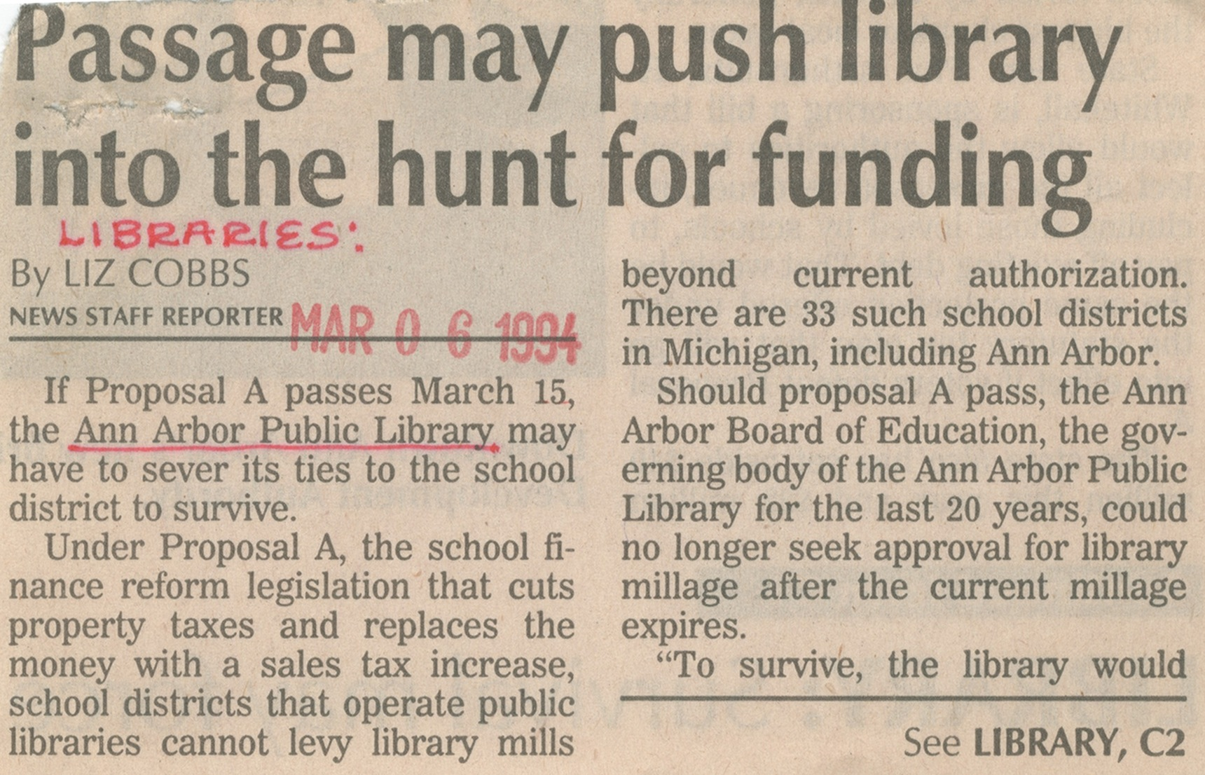 Passage May Push Library Into The Hunt For Funding image
