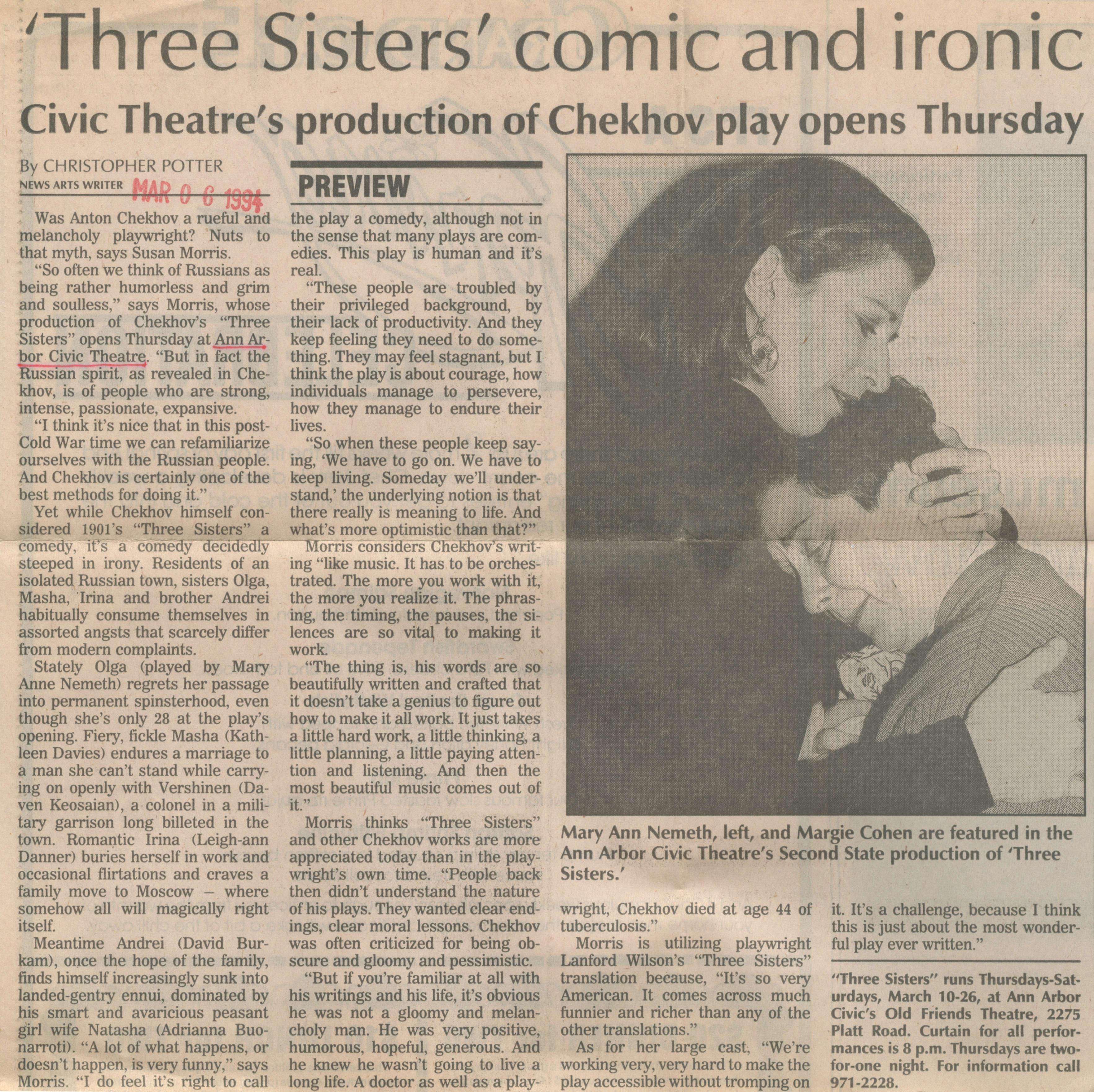 'Three Sisters' Comic And Ironic image