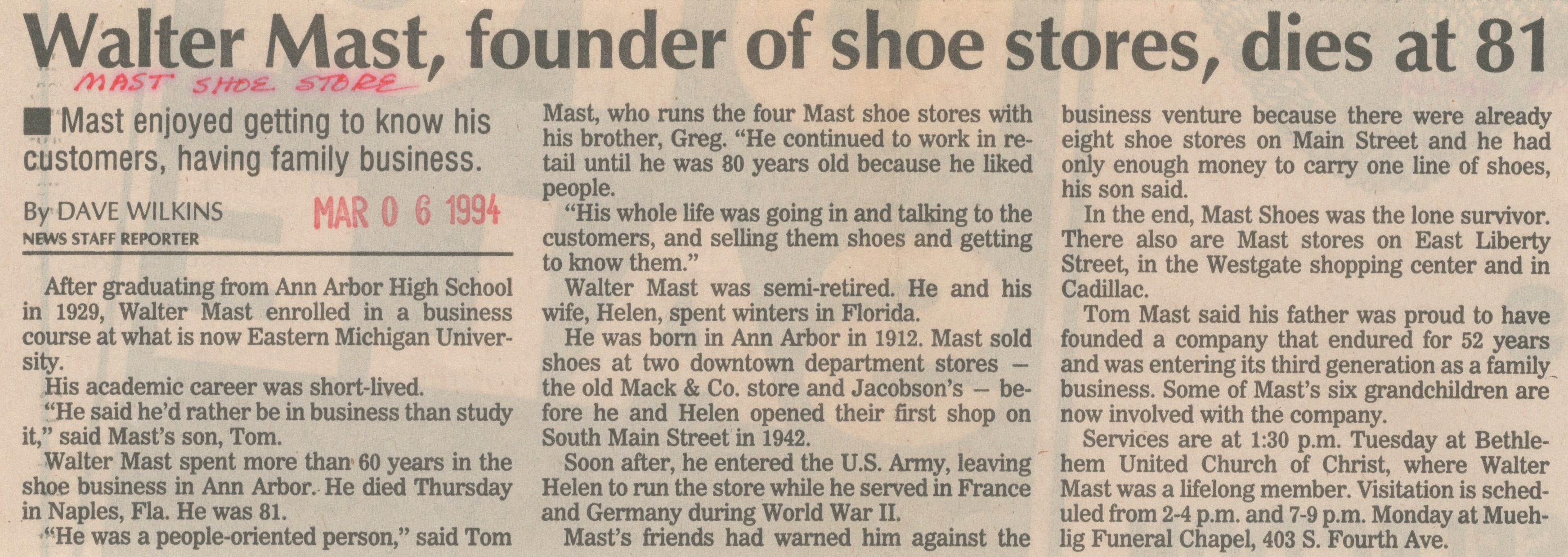 Walter Mast, Founder Of Shoe Stores, Dies At 81 image