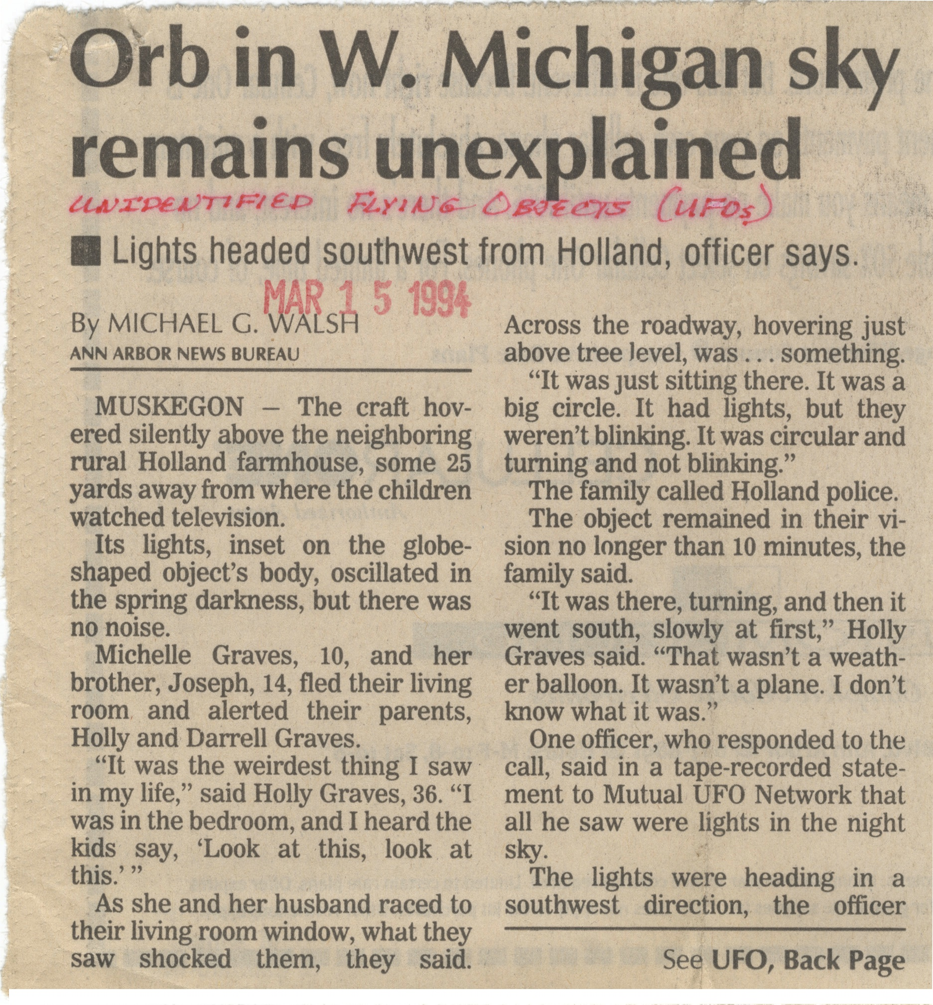 Orb in W. Michigan Sky Remains Unexplained image