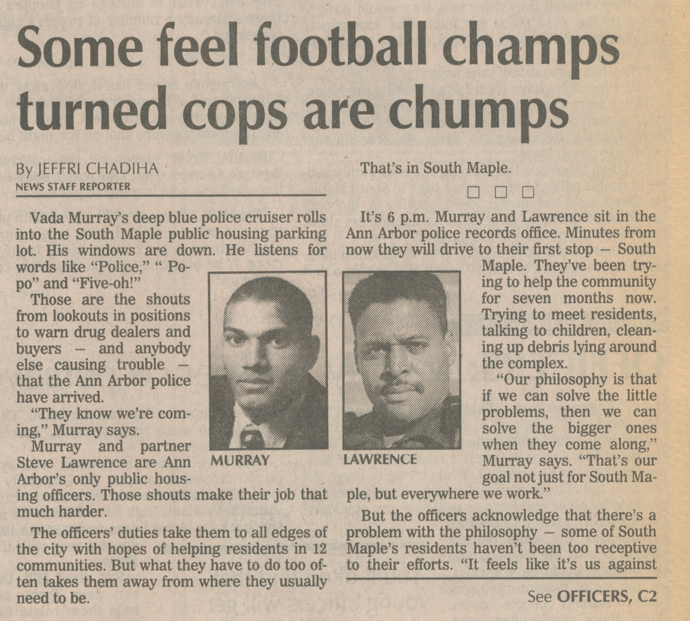 Some Feel Football Champs Turned Cops Are Chumps image