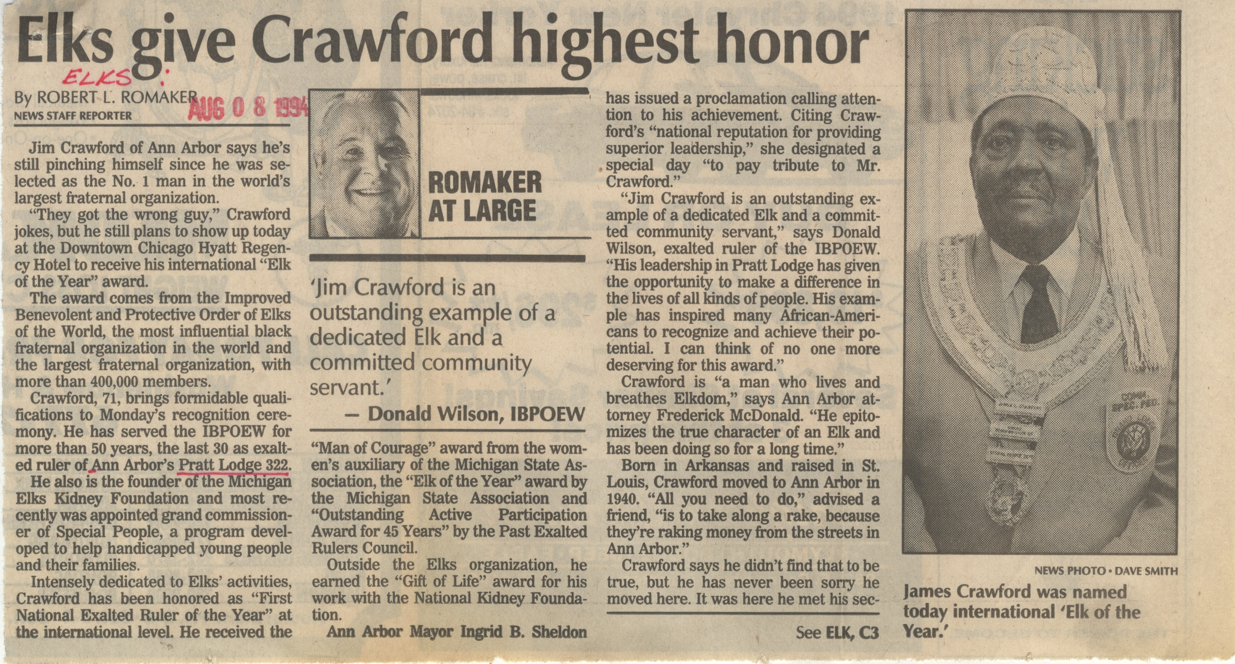 Elks Give Crawford Highest Honor image