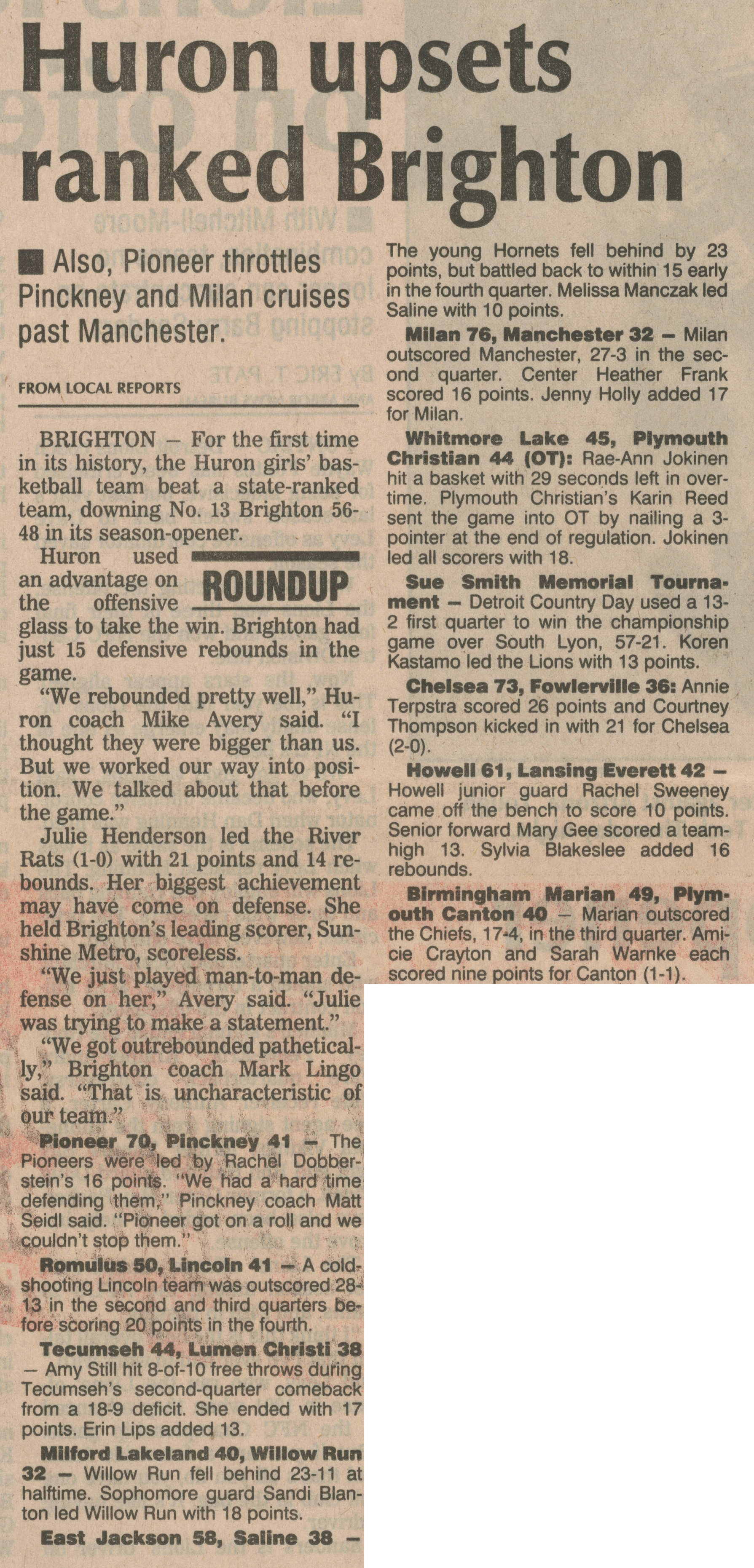 Huron Upsets Ranked Brighton; Also, Pioneer Throttles Pinckney and Milan Cruises Past Manchester image