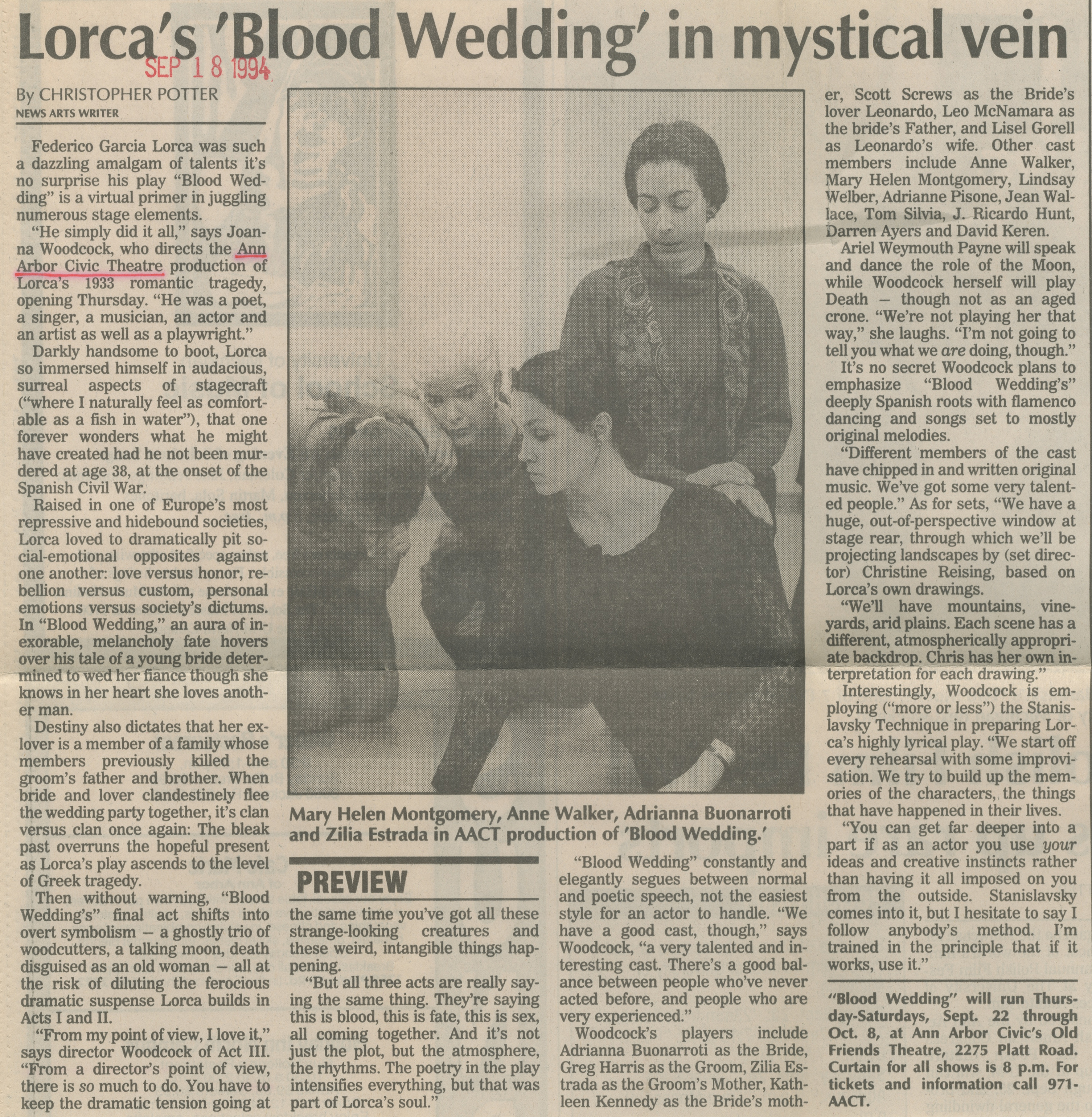 Lorca's 'Blood Wedding' In Mystical Vein image