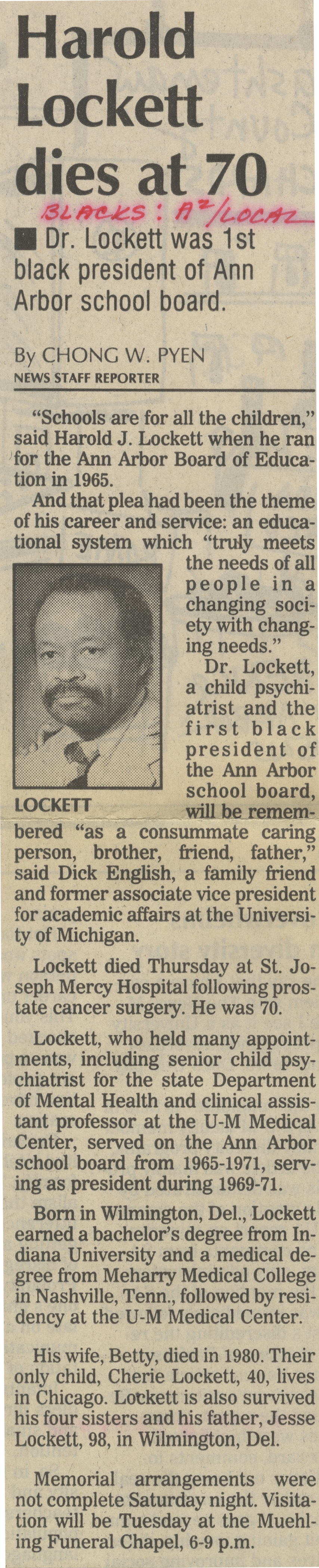 Harold Lockett Dies At 70 image