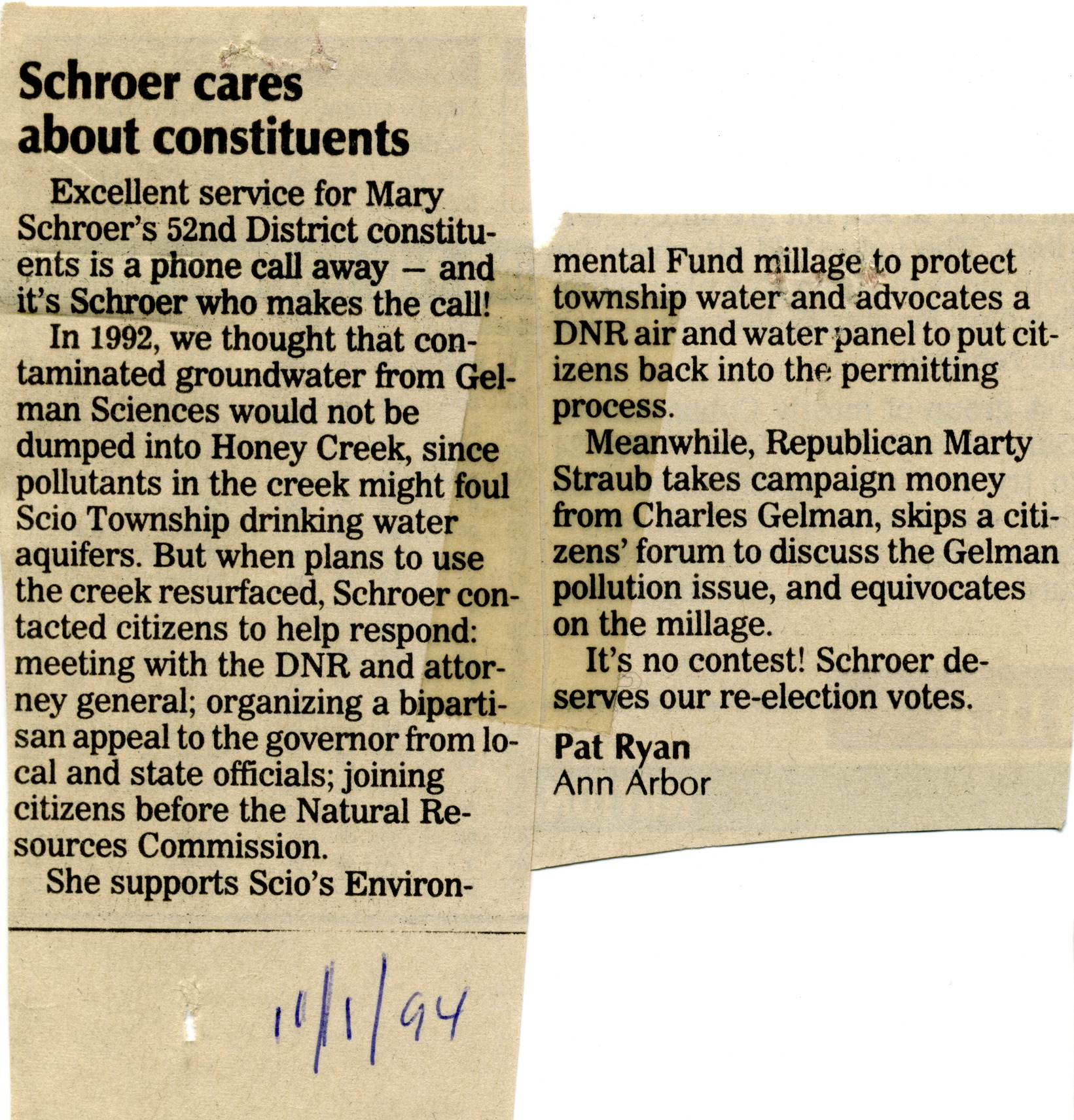 Schroer Cares About Constituents image