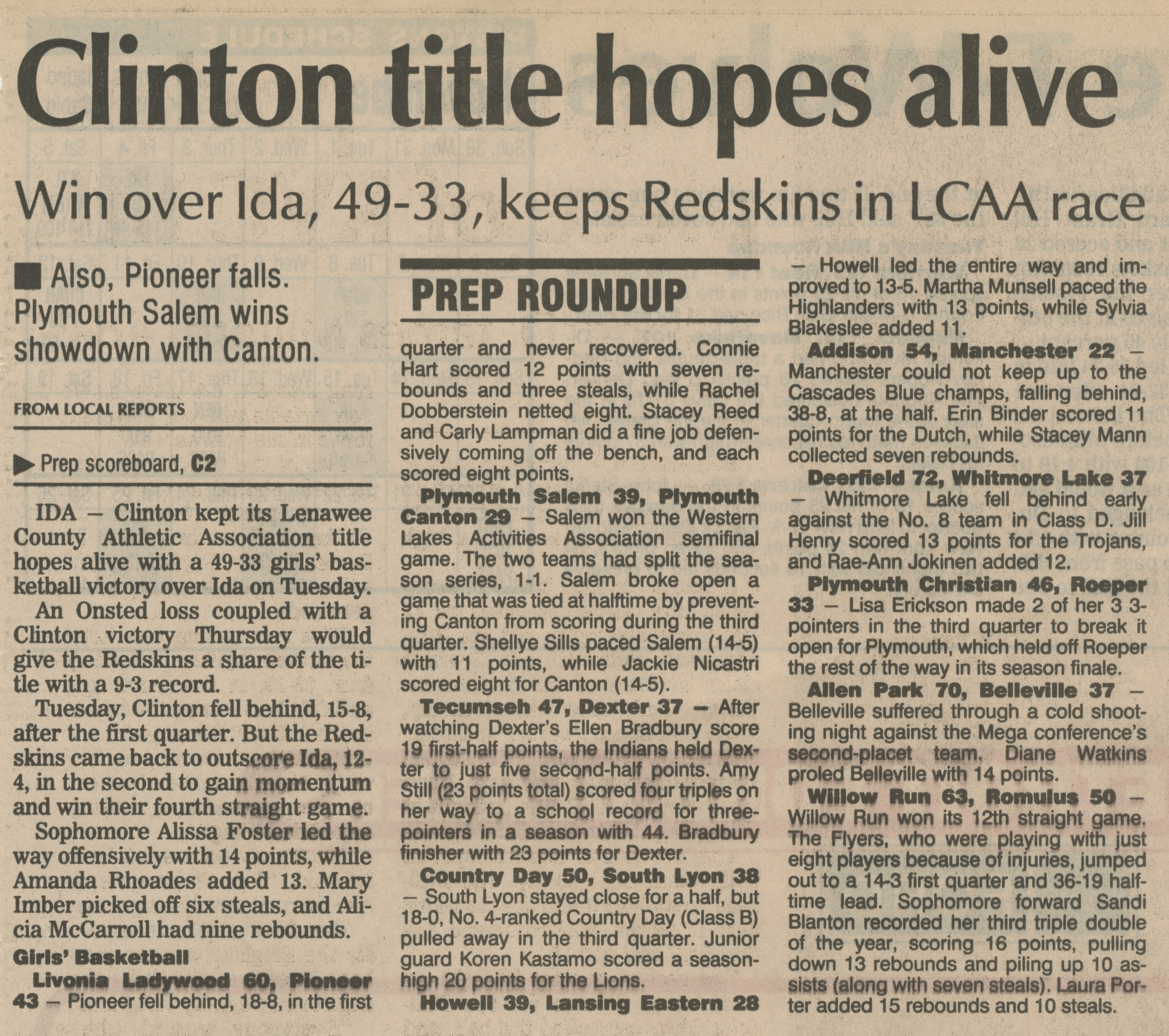 Prep Roundup:  Clinton Title Hopes Alive - Win Over Ida, 49 - 33, Keeps Redskins In LCAA Race image