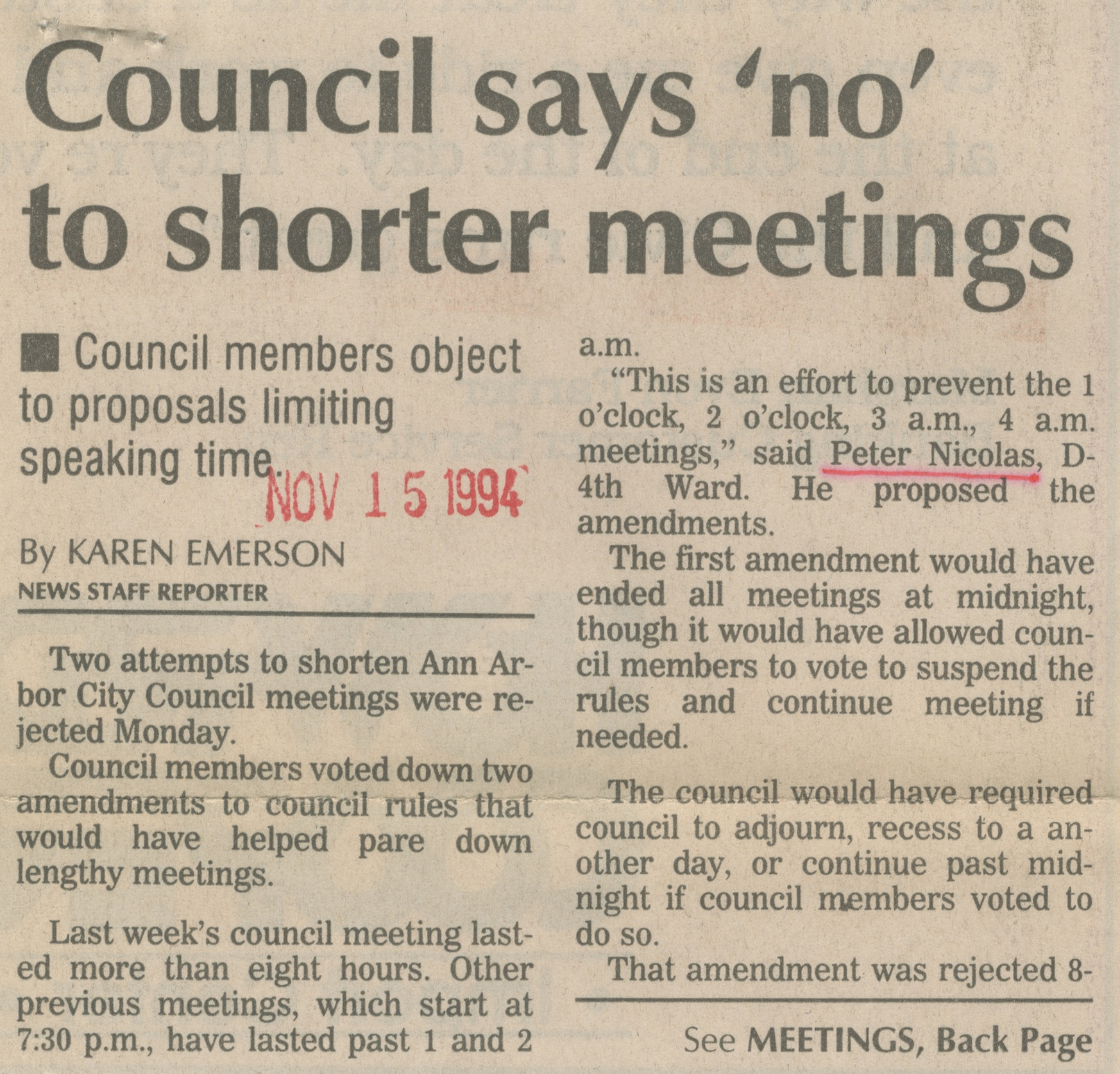 Council Says 'No' To Shorter Meetings image