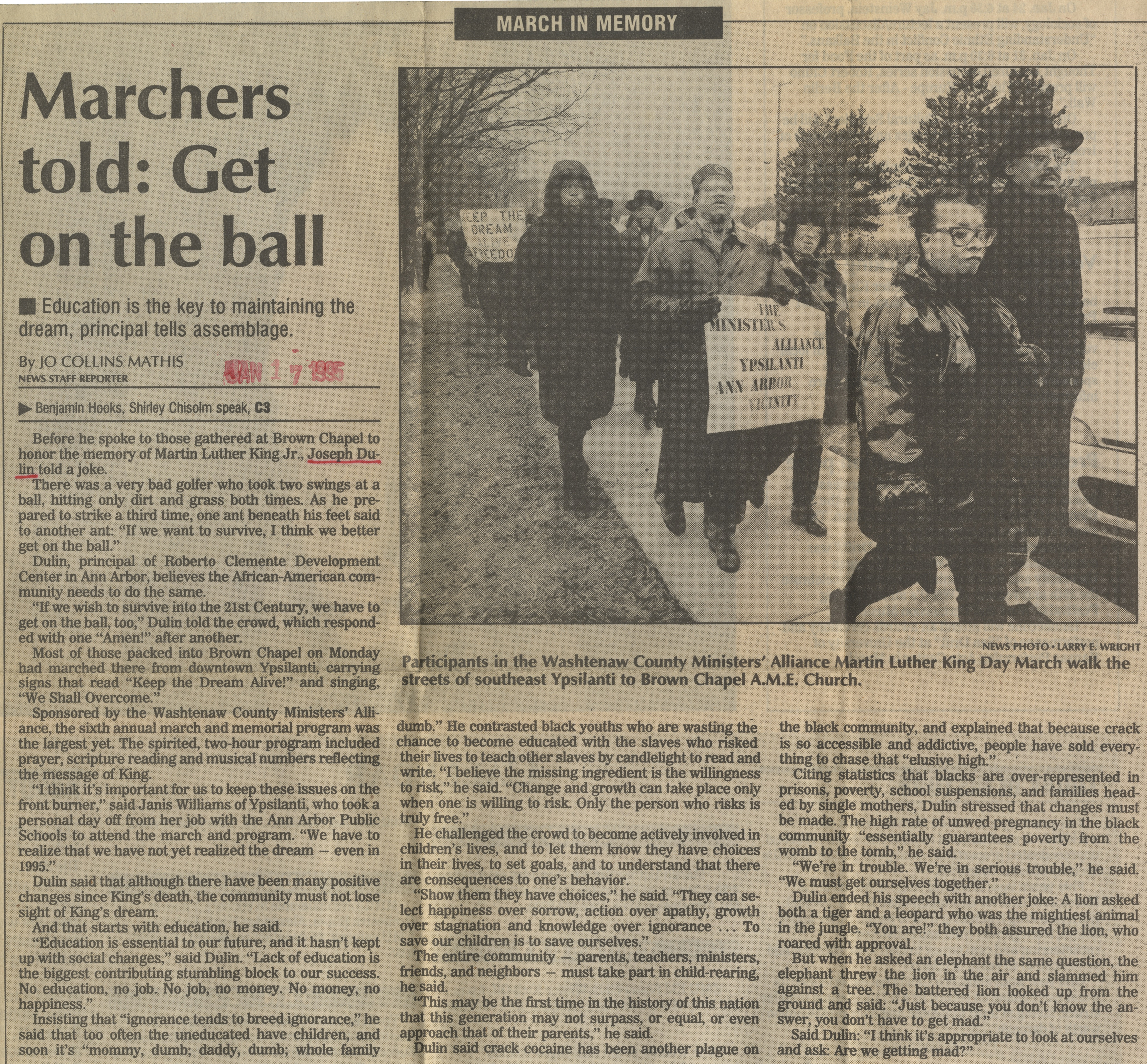 Marchers Told: Get On The Ball image