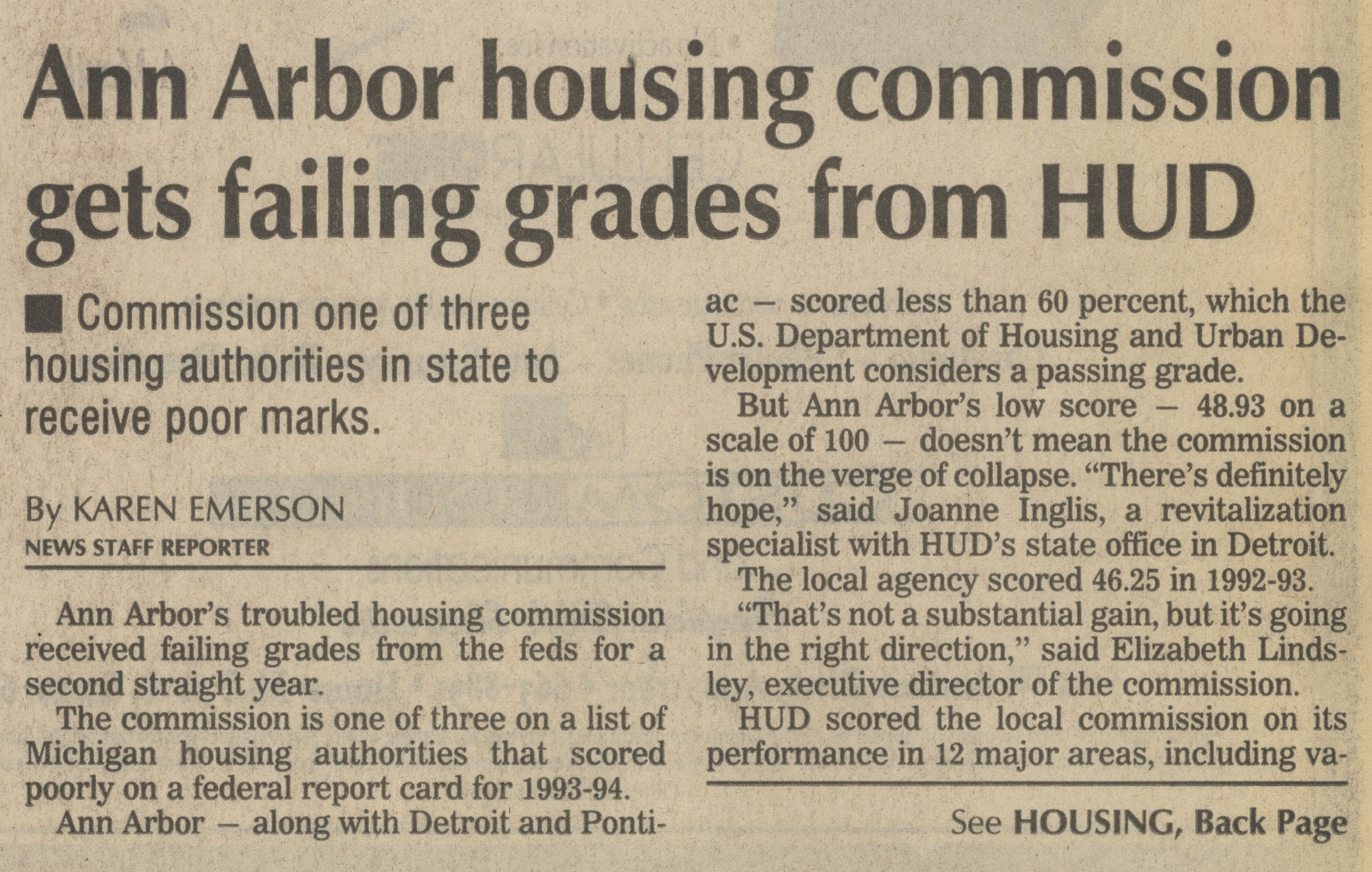 Ann Arbor Housing Commission Gets Failing Grades From HUD