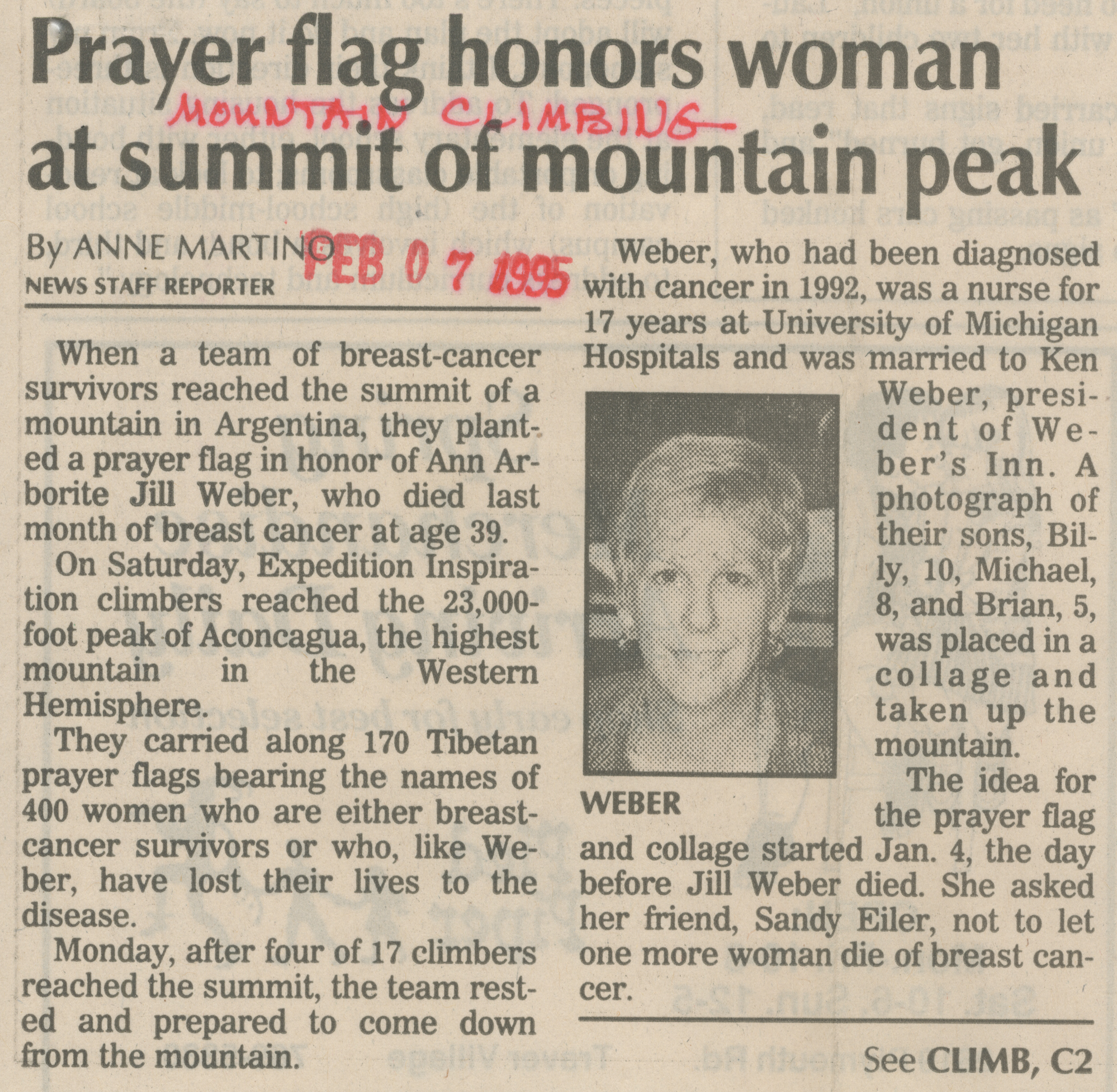 Prayer Flag Honors Woman at Summit of Mountain Peak image