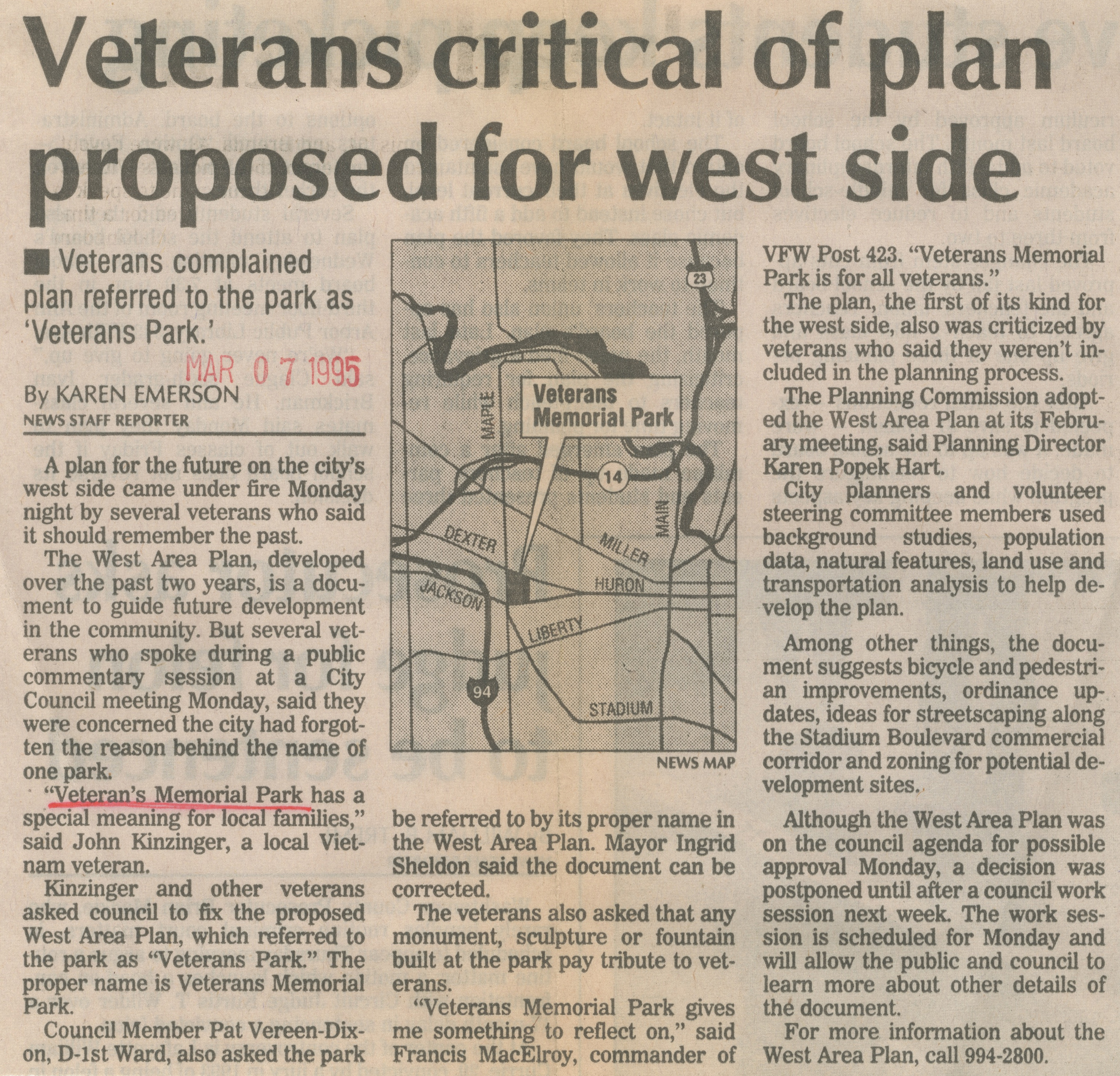 Veterans Critical Of Plan Proposed For West Side image