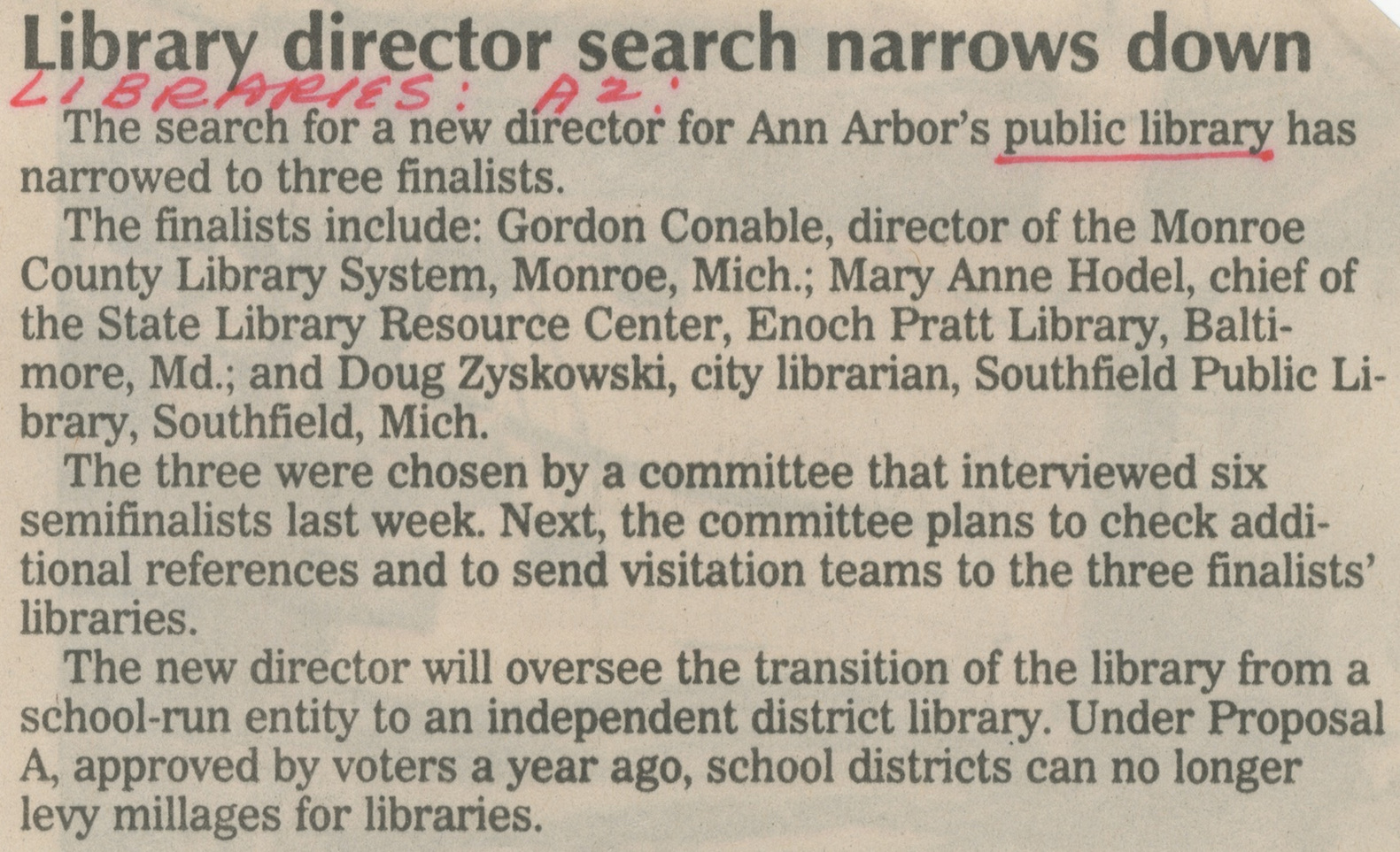 Library Director Search Narrows Down image