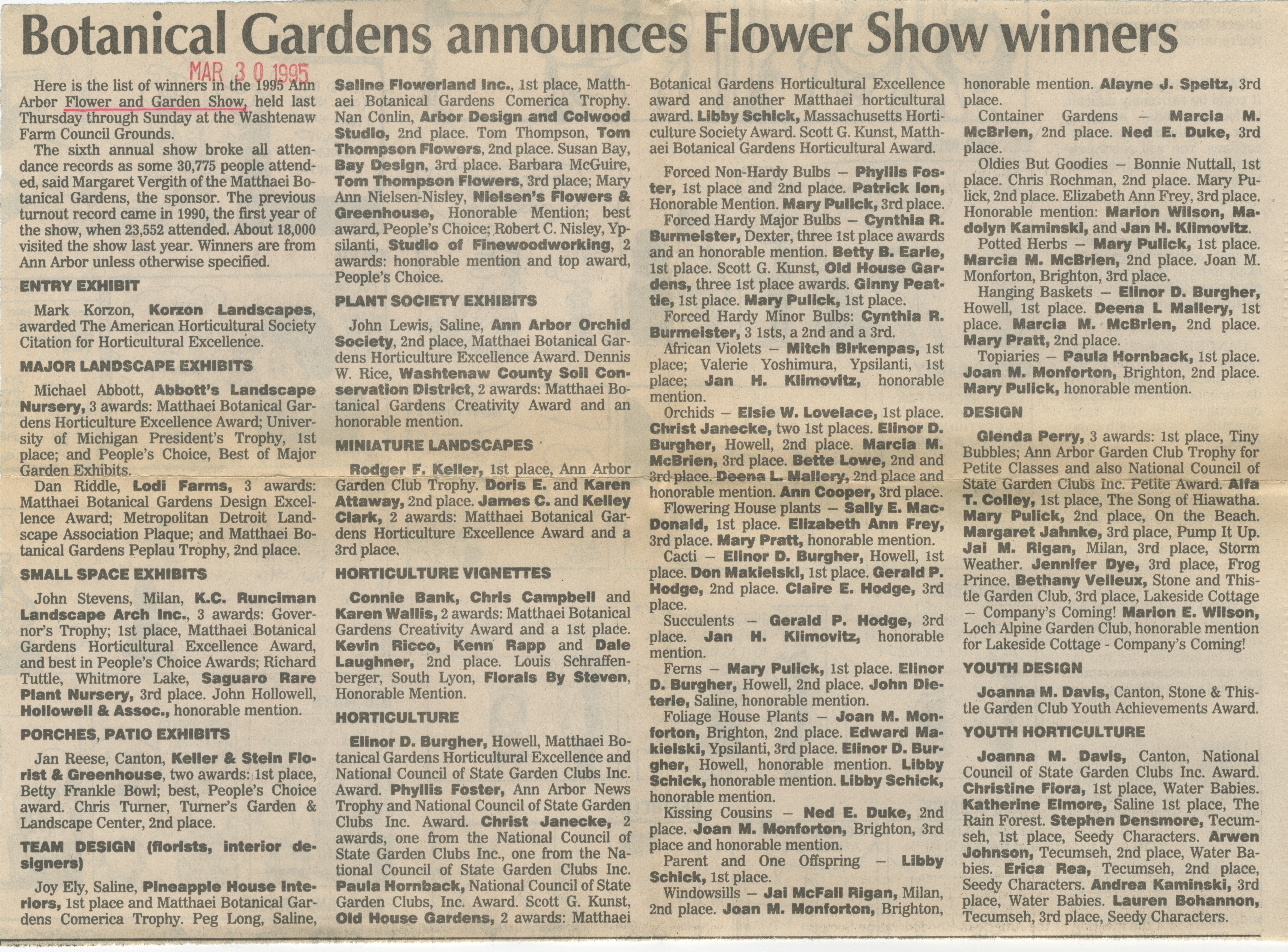 Botanical Gardens Announces Flower Show Winners image