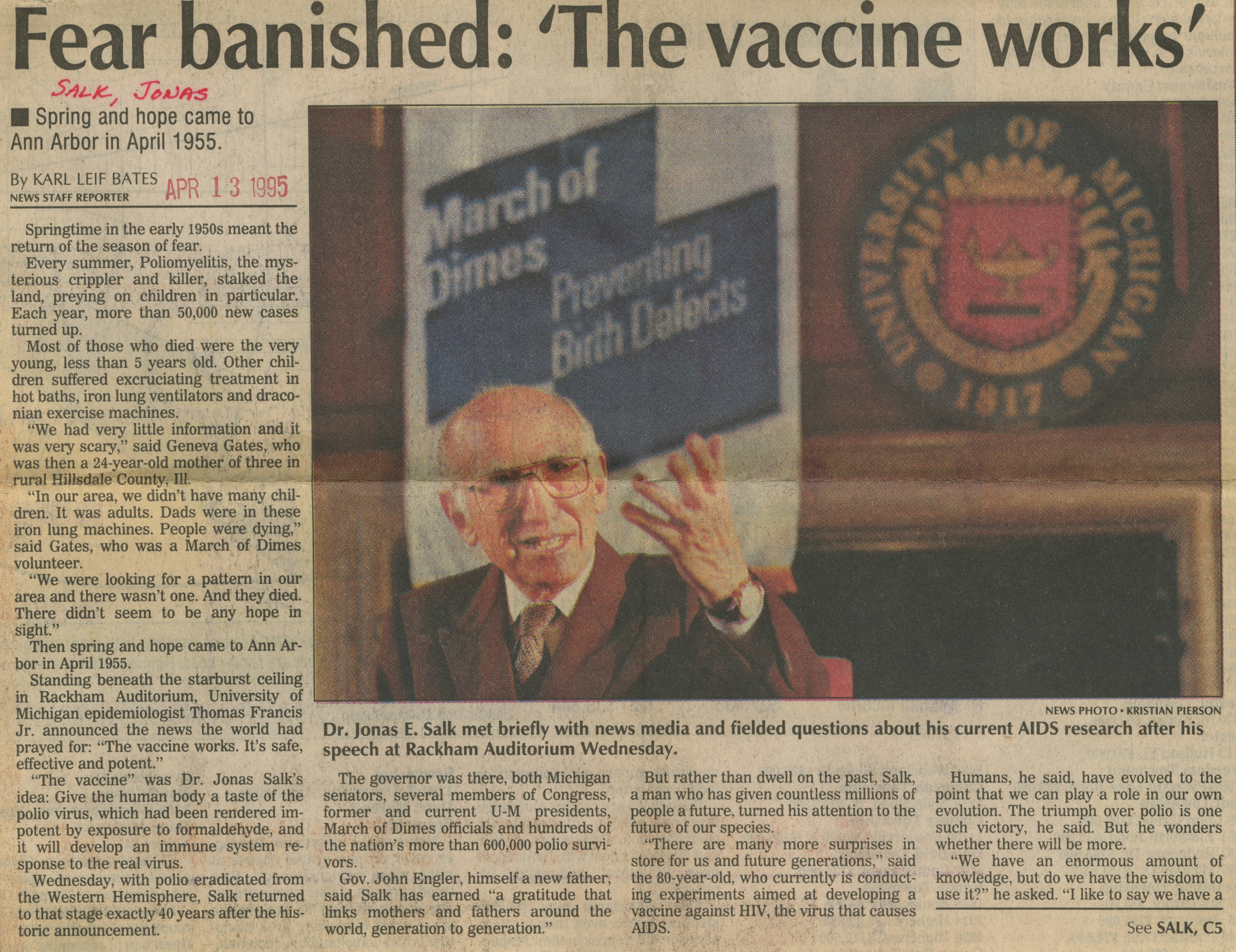 Fear Banished: 'The Vaccine Works' image