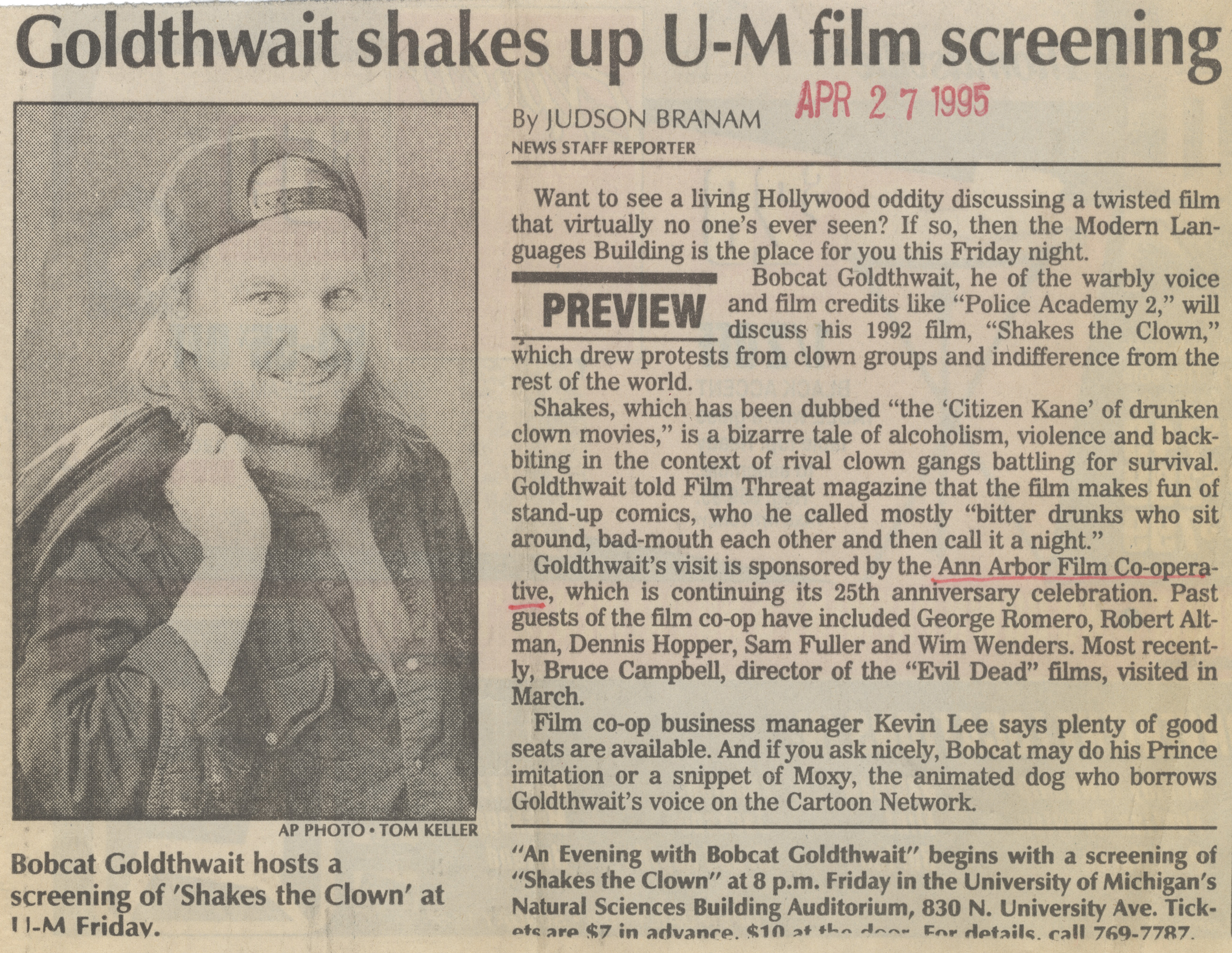 Goldthwait shakes up U-M film screening image