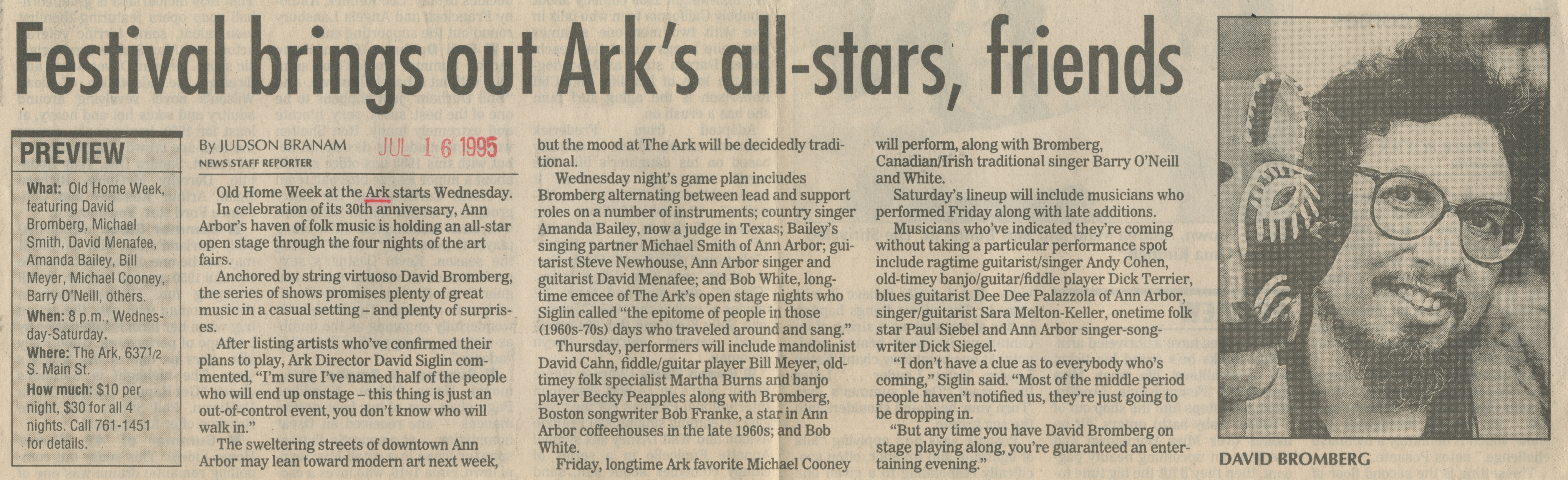 Festival Brings Out Ark's All-Stars, Friends image