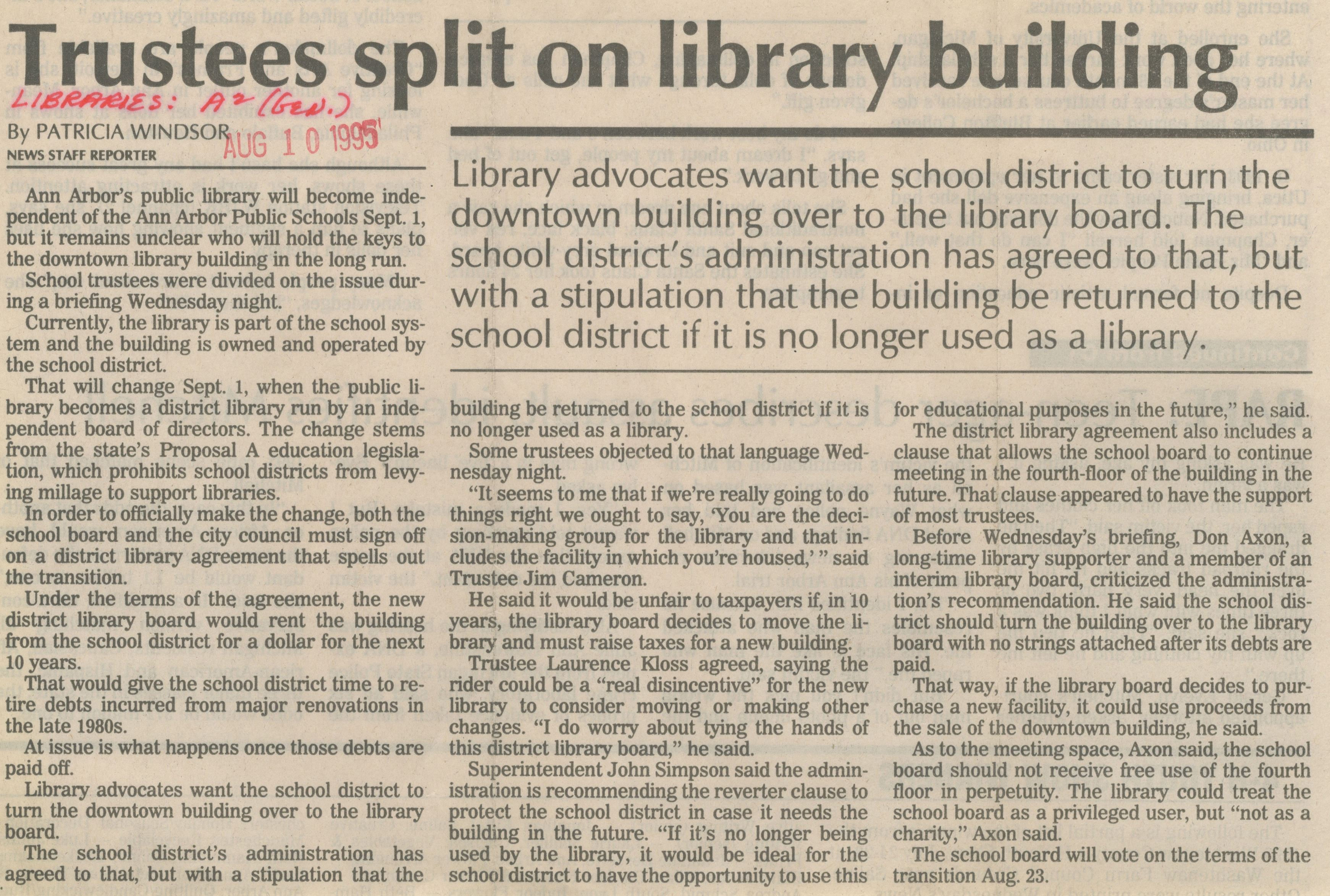 Trustees Split On Library Building image
