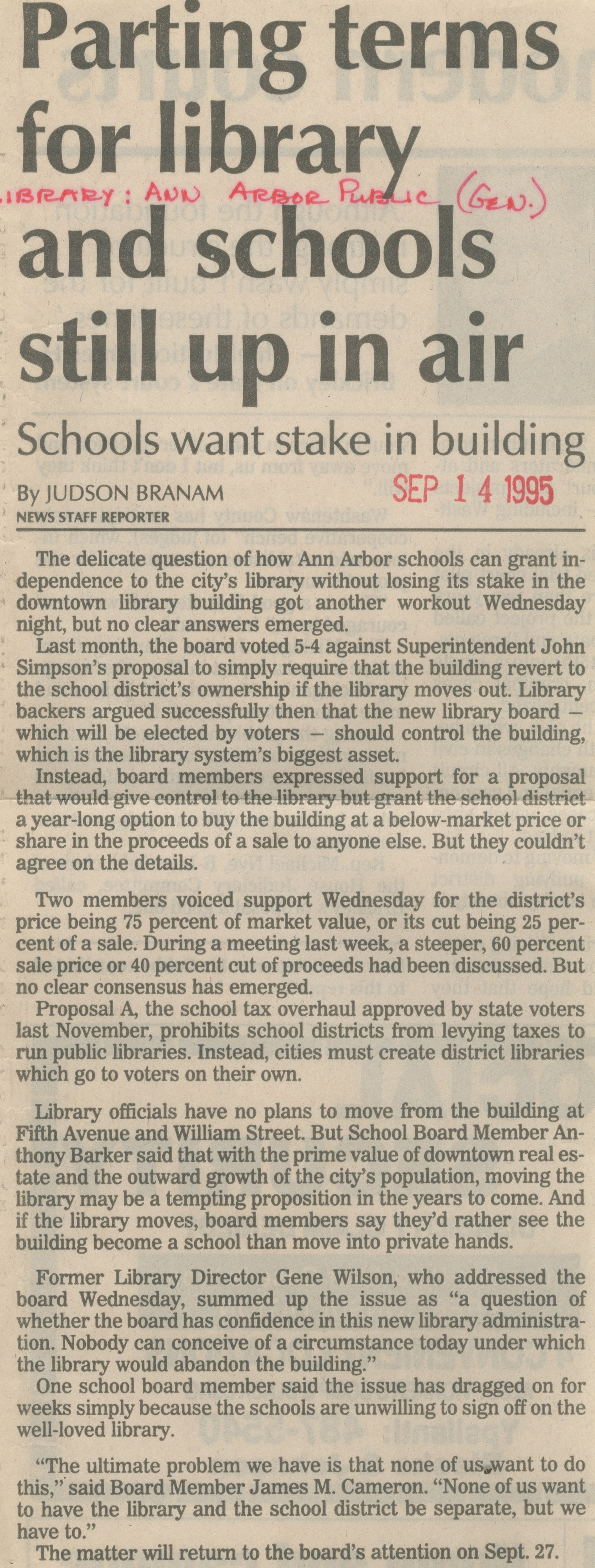 Parting Terms For Library And Schools Still Up In Air image