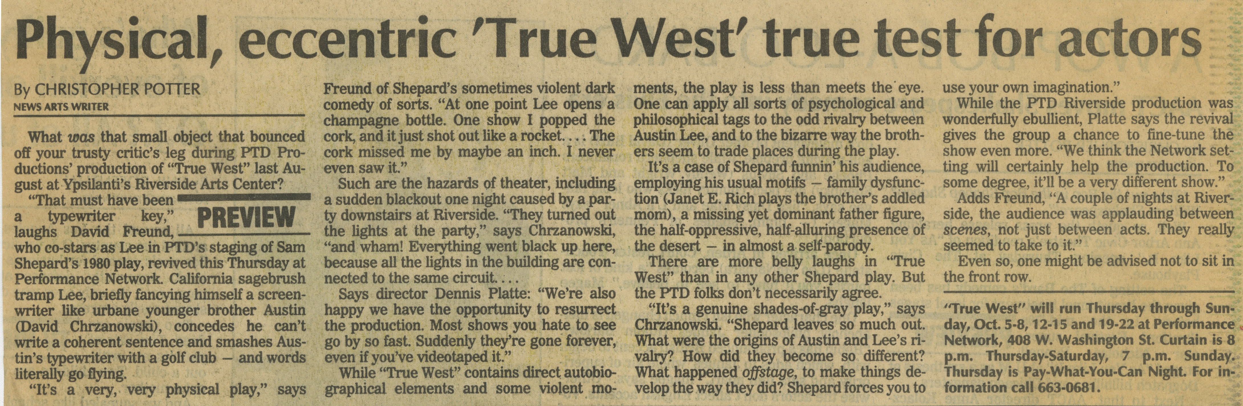 Physical, eccentric 'True West' true test for actors image